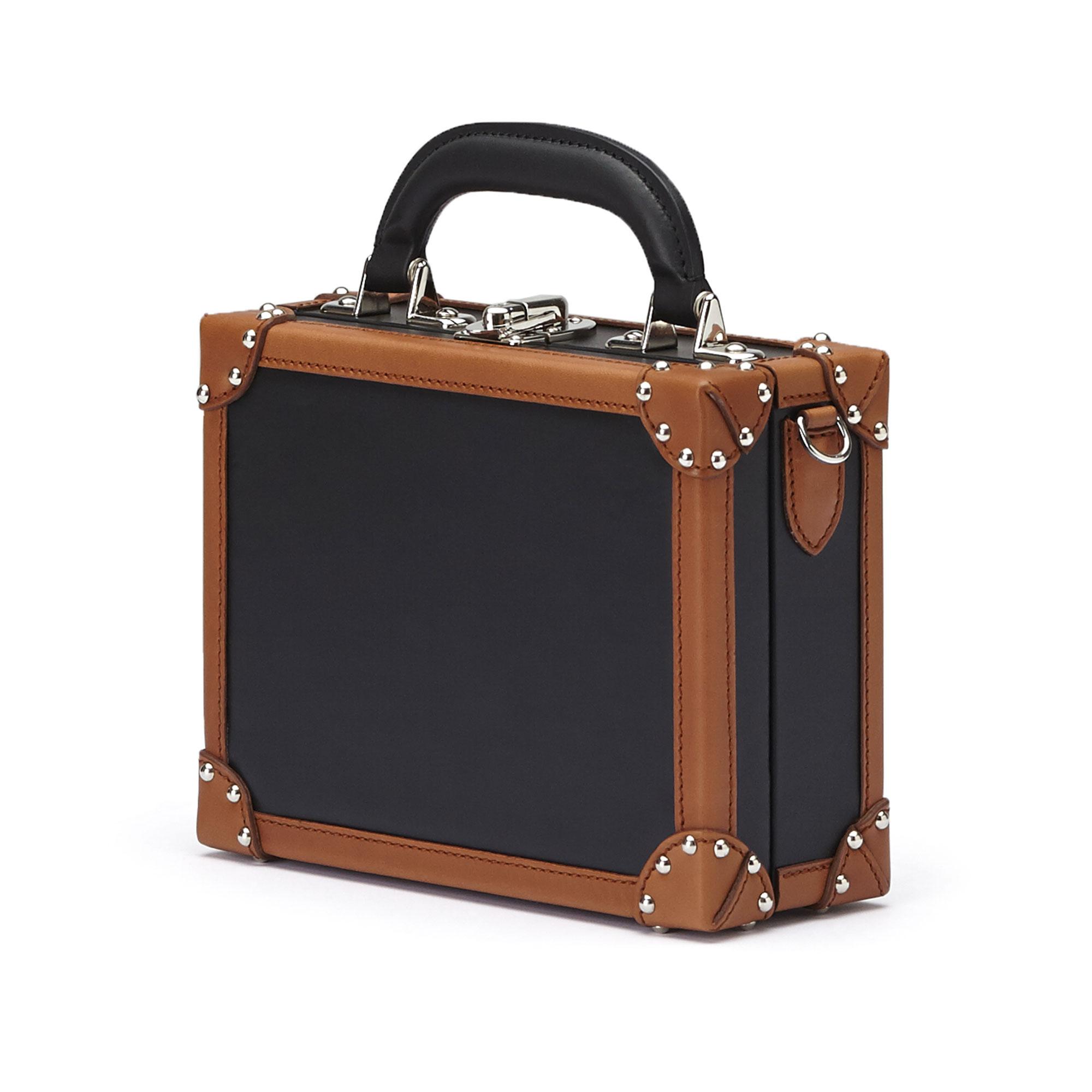 The black and terrabruciata french calf Mini Squared Bertoncina bag by Bertoni 1949 02