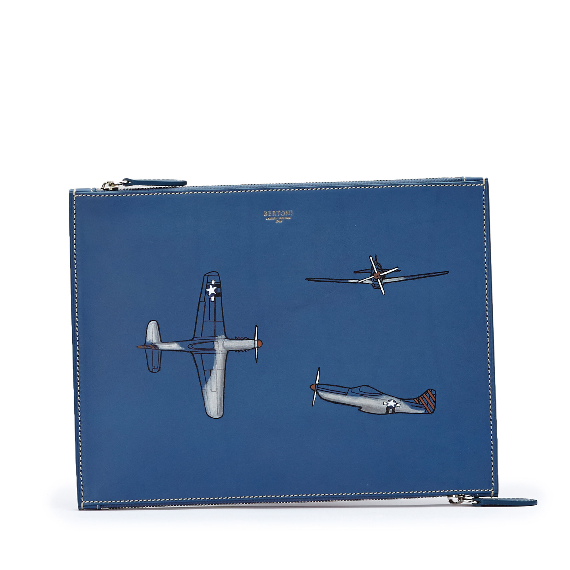 The blue french calf with hand painted aeroplane Zip Pouch by Bertoni 1949 01