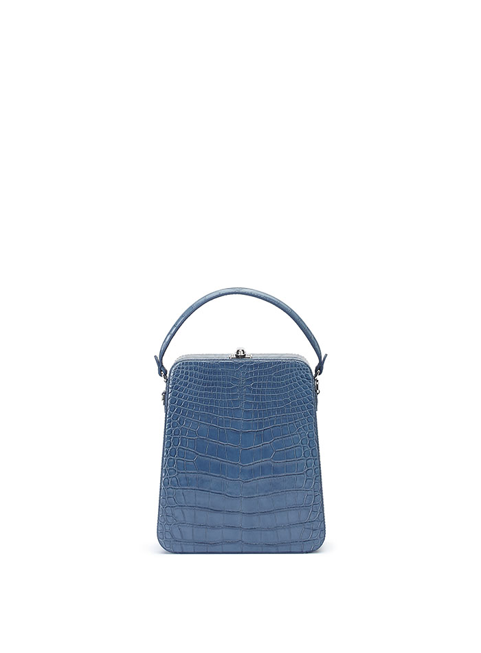 The blue alligator denim Tall Bertoncina bag by Bertoni 1949