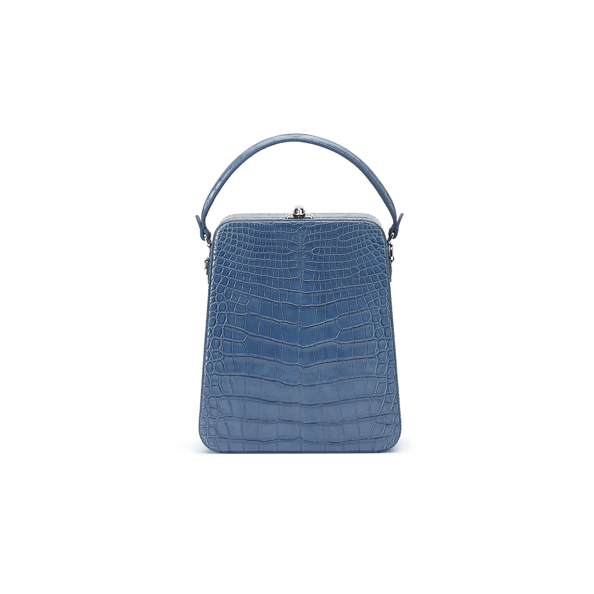 The blue alligator denim Tall Bertoncina bag by Bertoni 1949 01