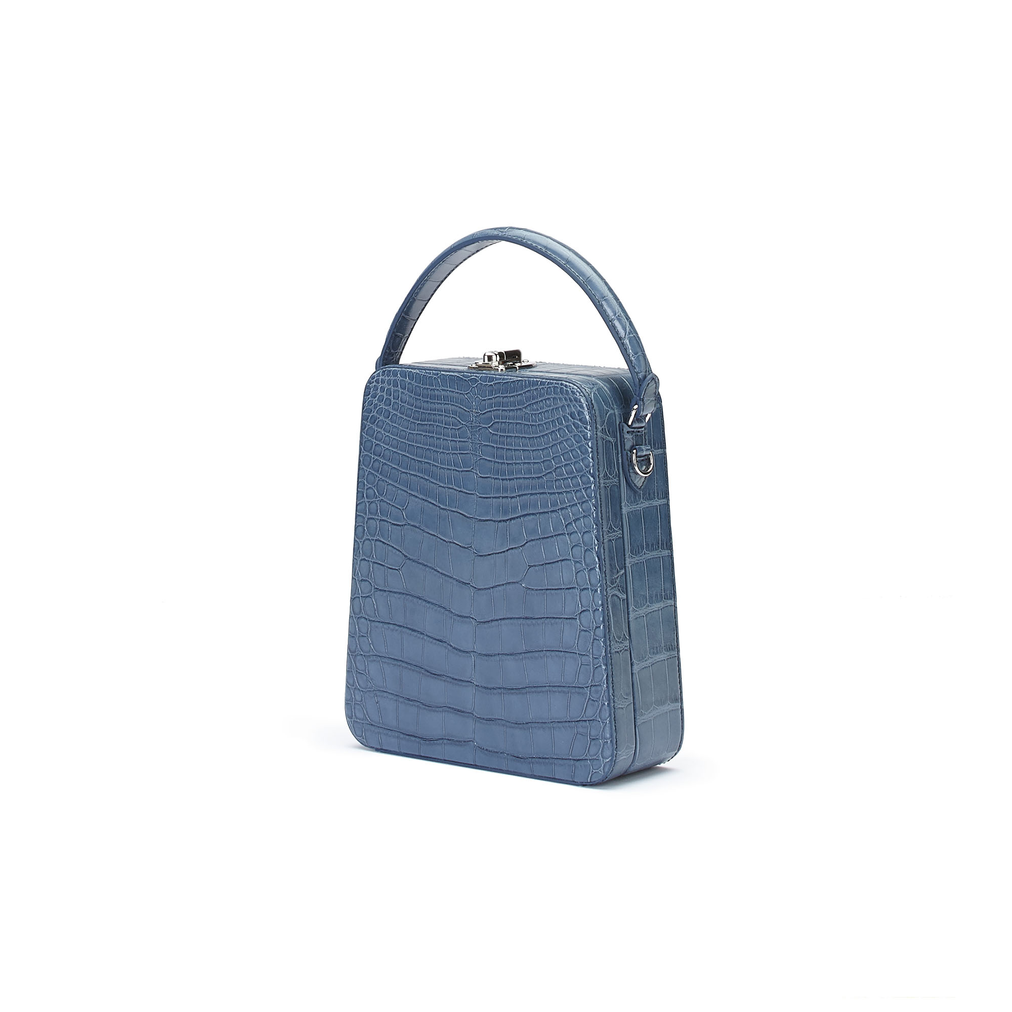 The blue alligator denim Tall Bertoncina bag by Bertoni 1949 02