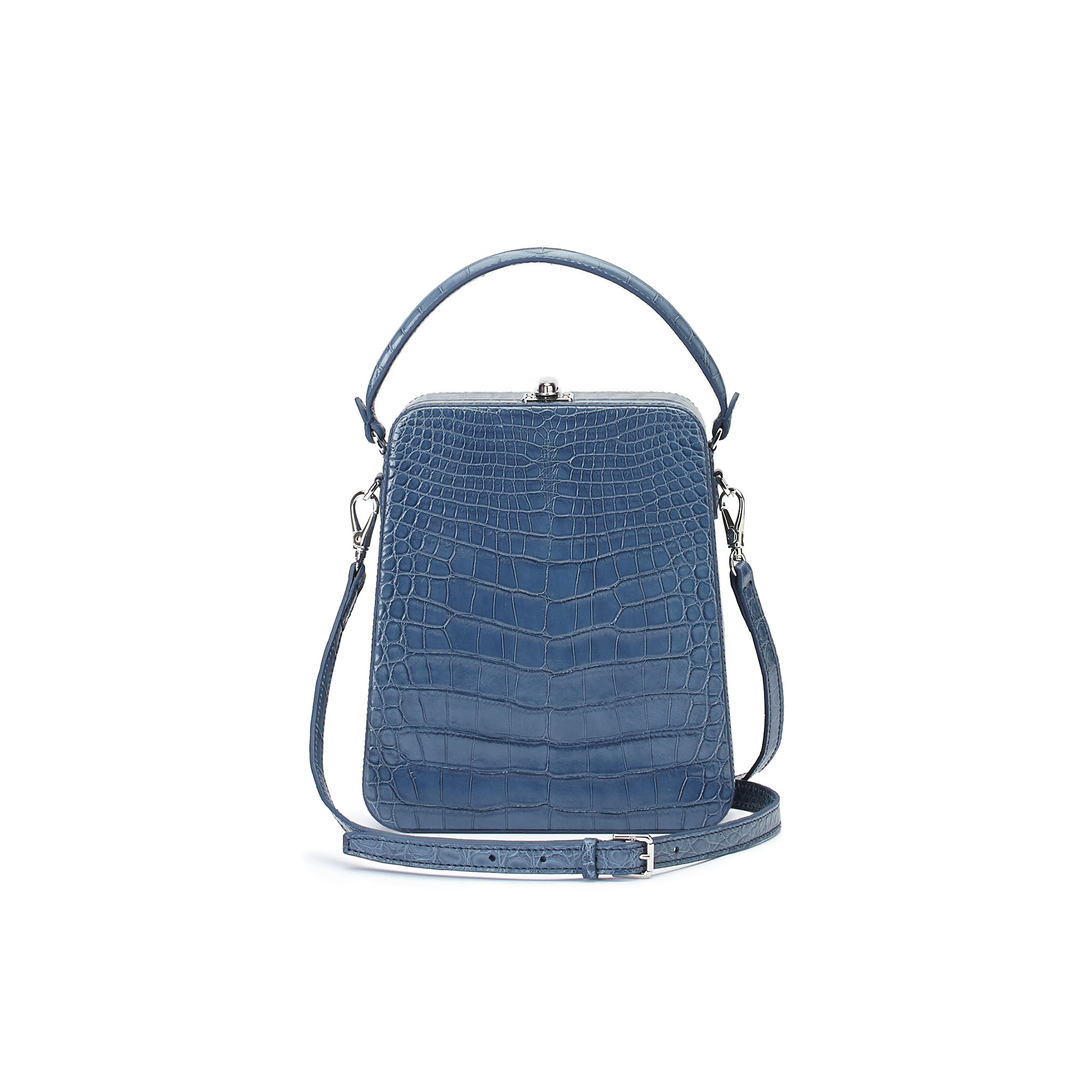 The blue alligator denim Tall Bertoncina bag by Bertoni 1949 03