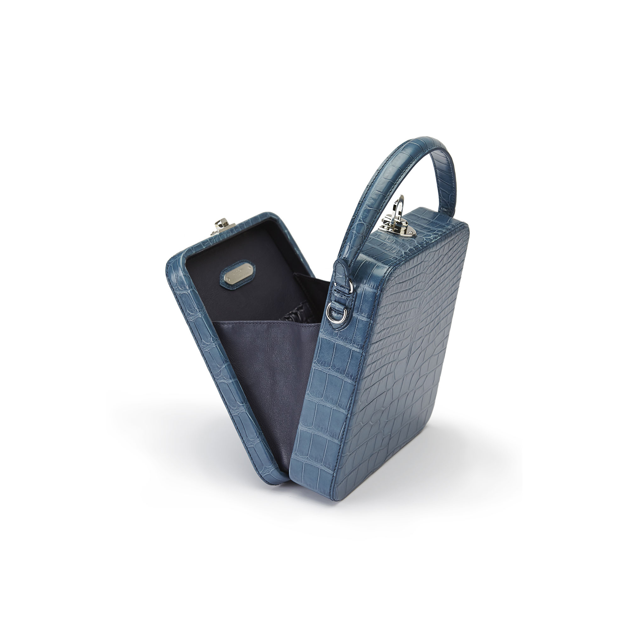 The blue alligator denim Tall Bertoncina bag by Bertoni 1949 04