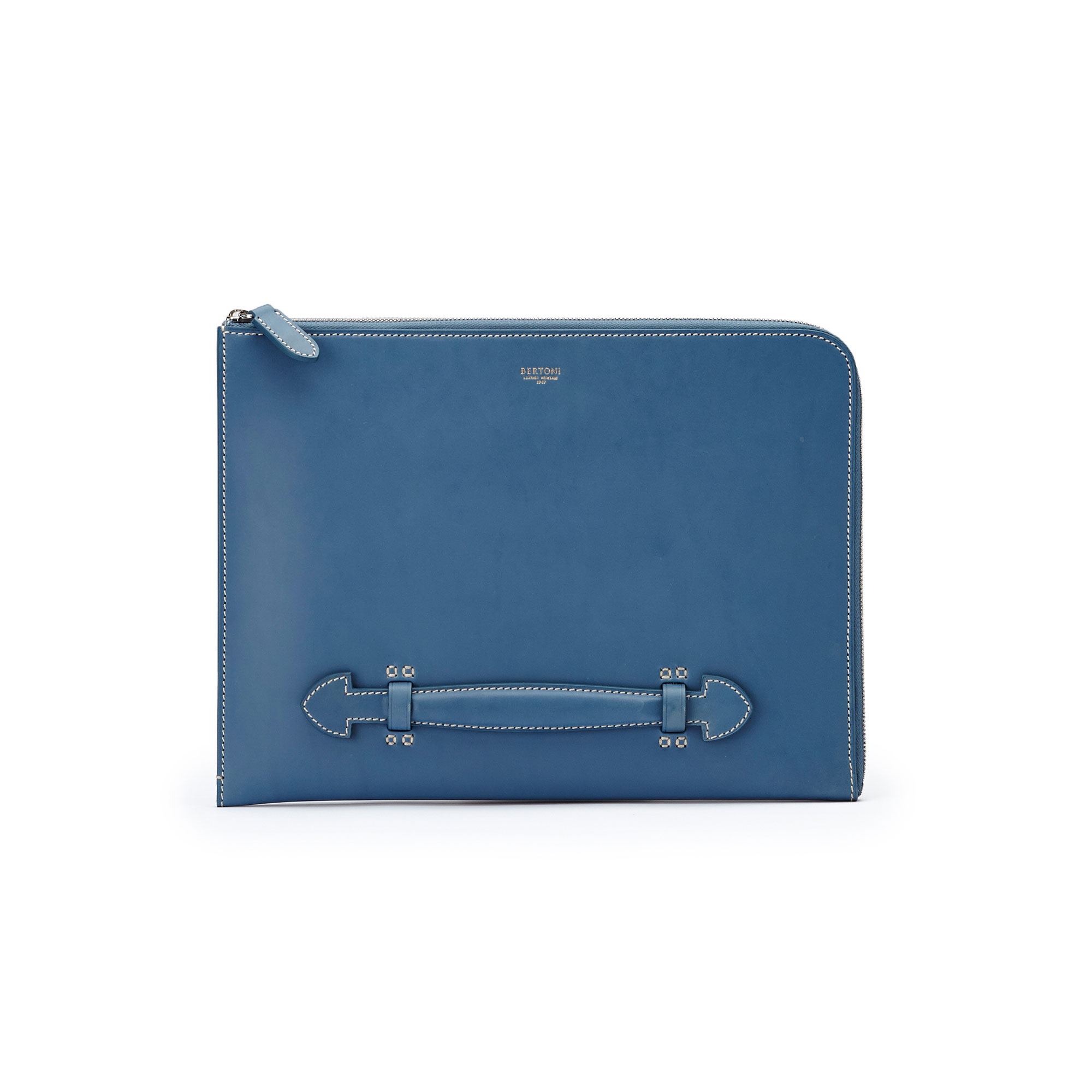 The blue french calf Handle Zip Folio 33 by Bertoni 1949 01