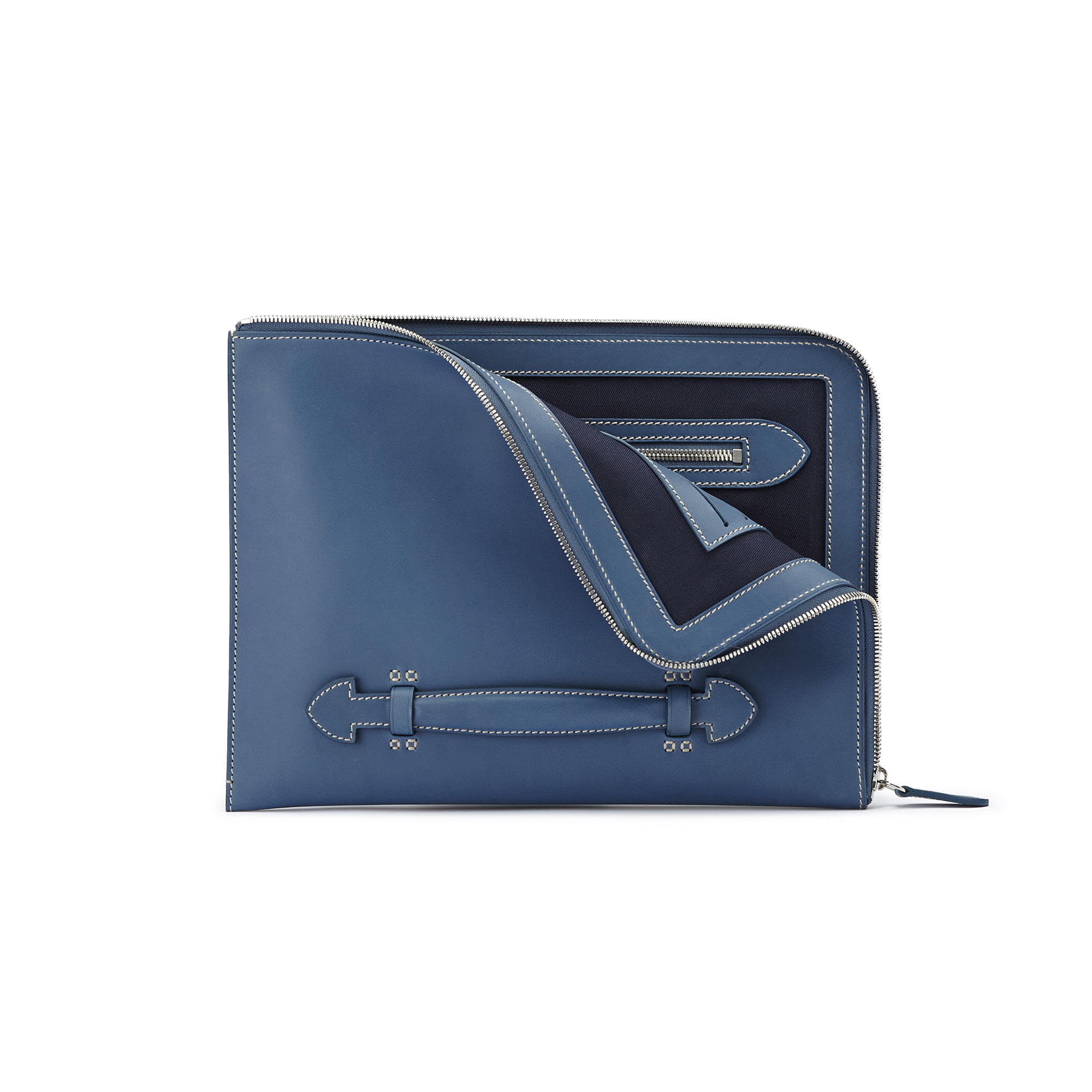 The blue french calf Handle Zip Folio 33 by Bertoni 1949 02