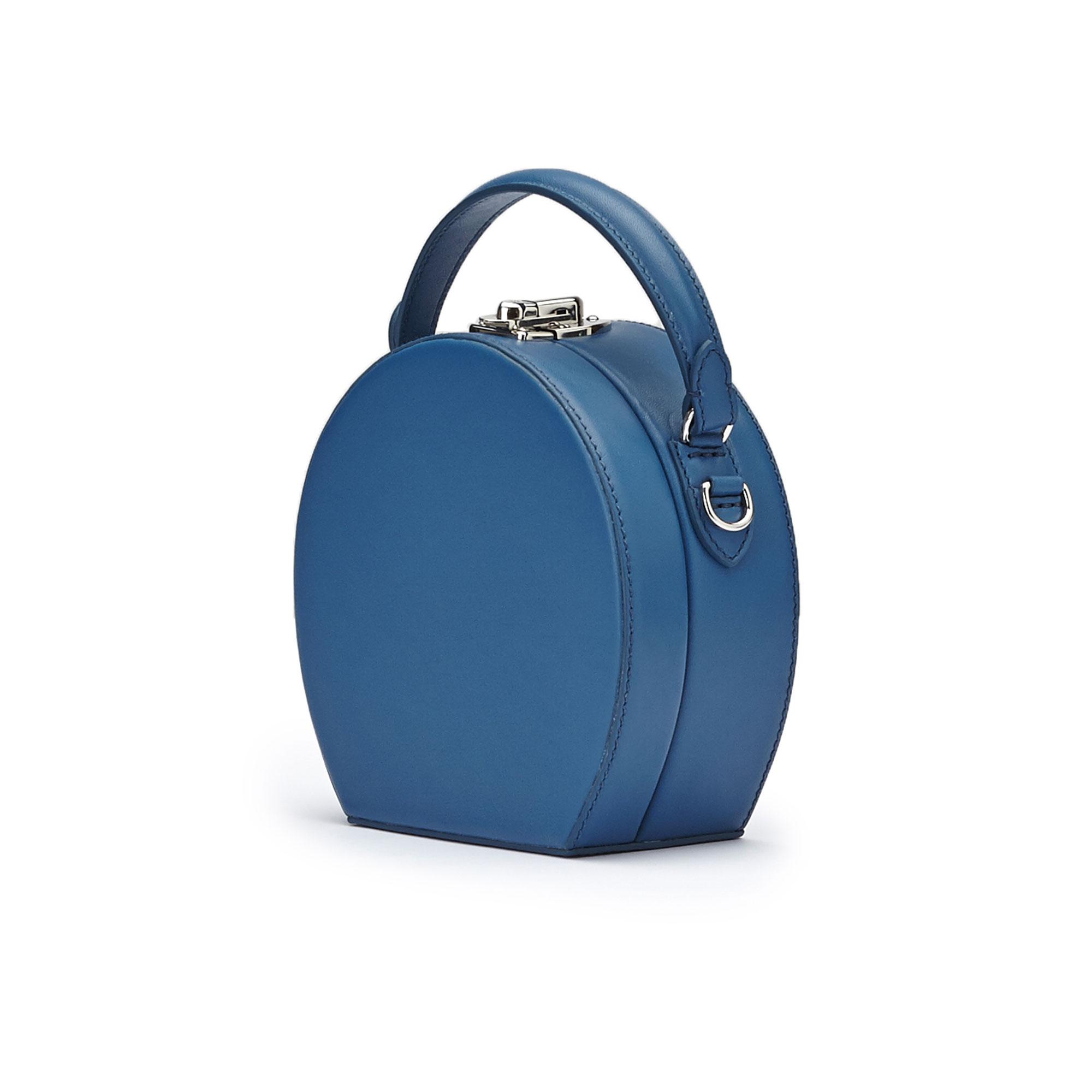 The blue french calf Mini Bertoncina bag by Bertoni 1949 02