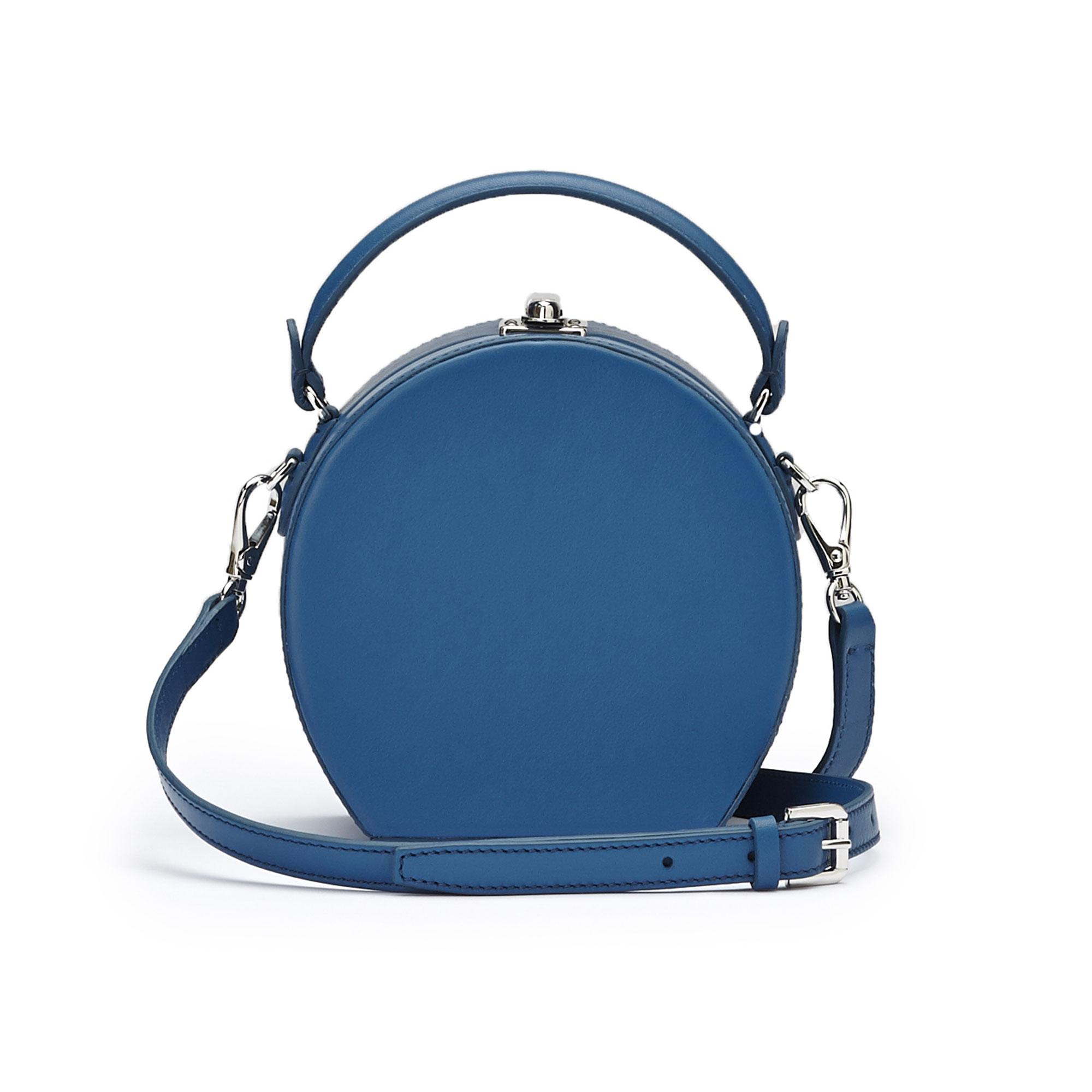 The blue french calf Mini Bertoncina bag by Bertoni 1949 03