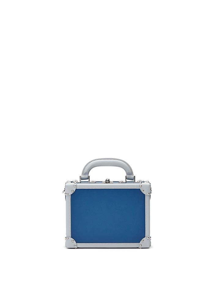 The blue french calf Mini Squared Bertoncina bag by Bertoni 1949