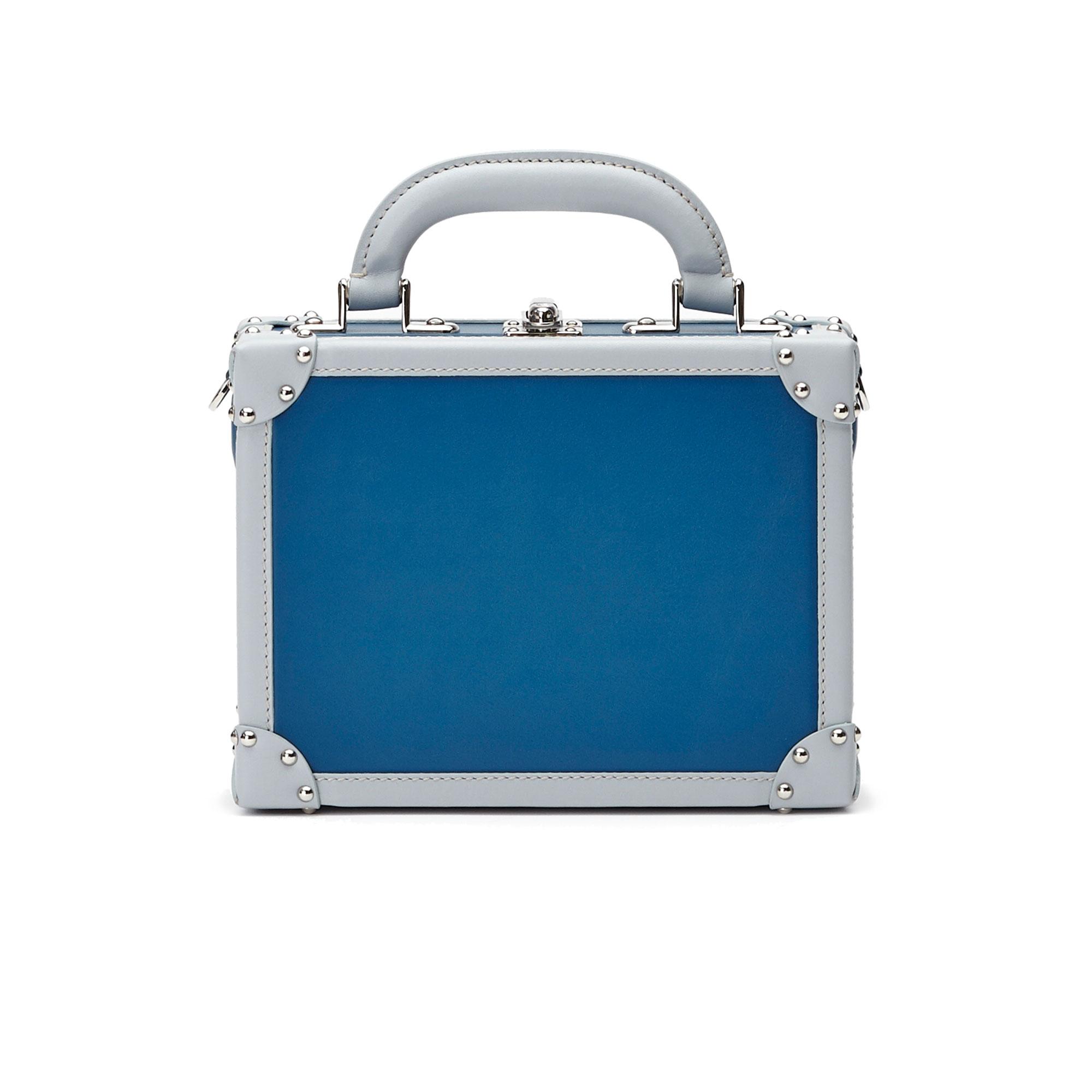 The blue french calf Mini Squared Bertoncina bag by Bertoni 1949 01
