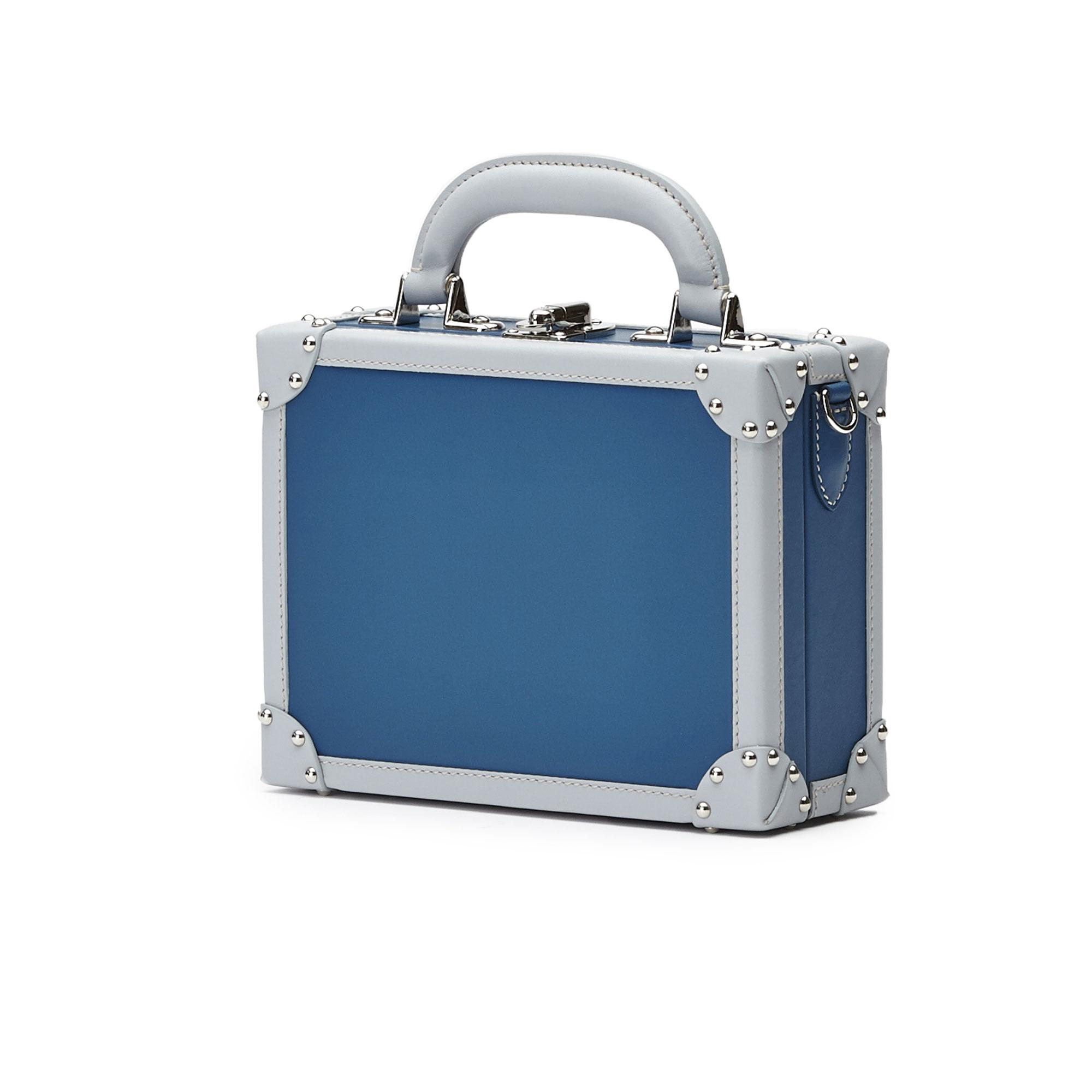 The blue french calf Mini Squared Bertoncina bag by Bertoni 1949 02