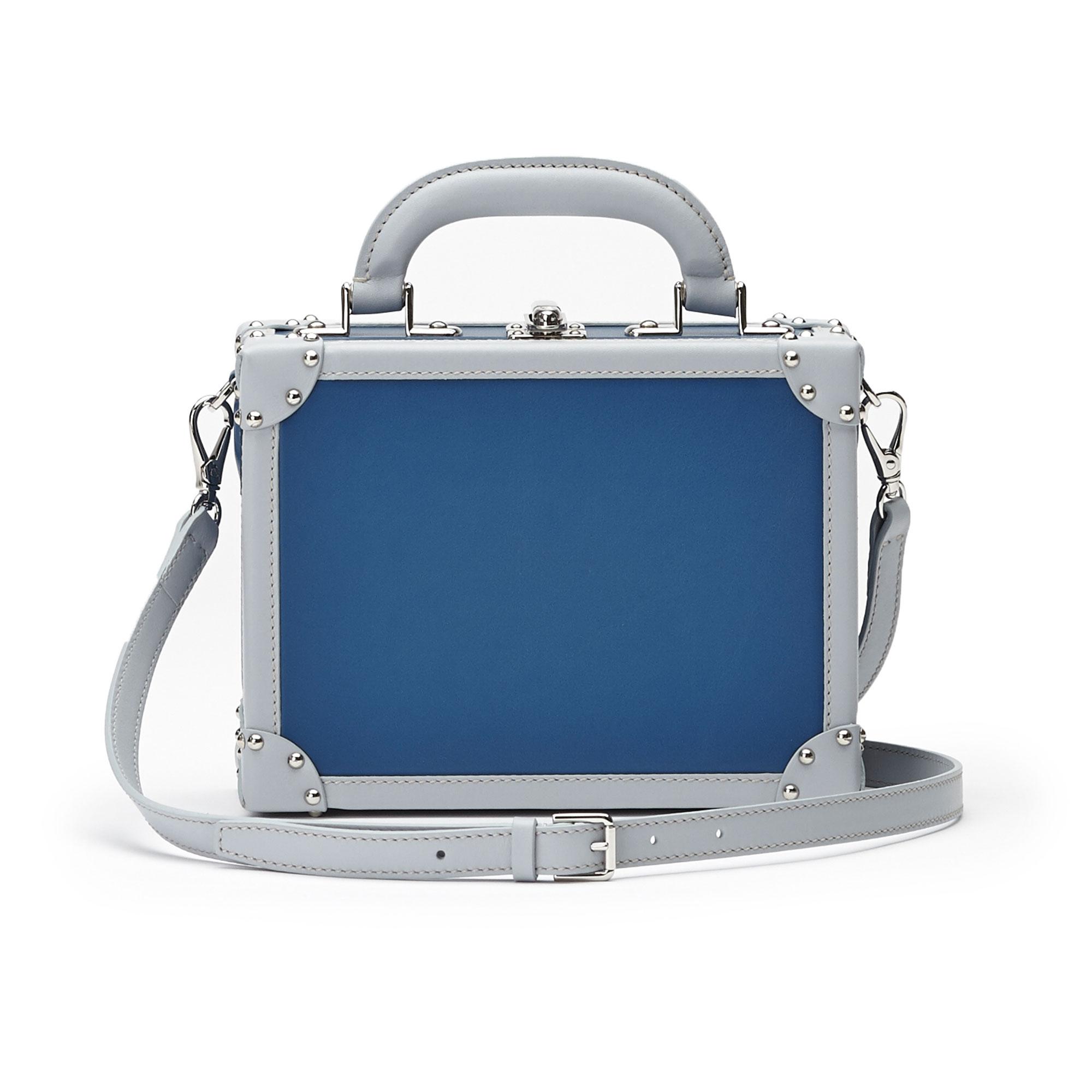 The blue french calf Mini Squared Bertoncina bag by Bertoni 1949 03