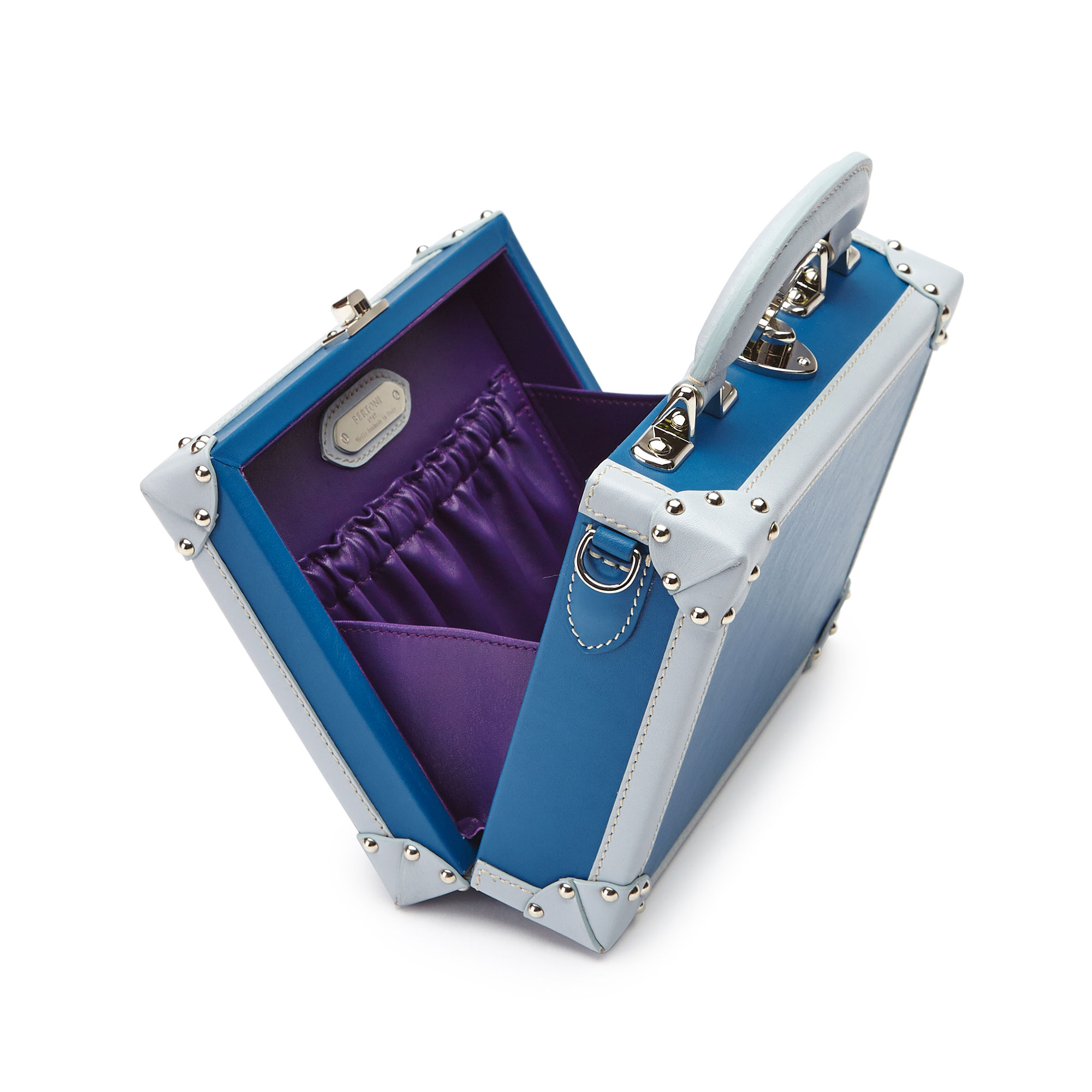 The blue french calf Mini Squared Bertoncina bag by Bertoni 1949 04