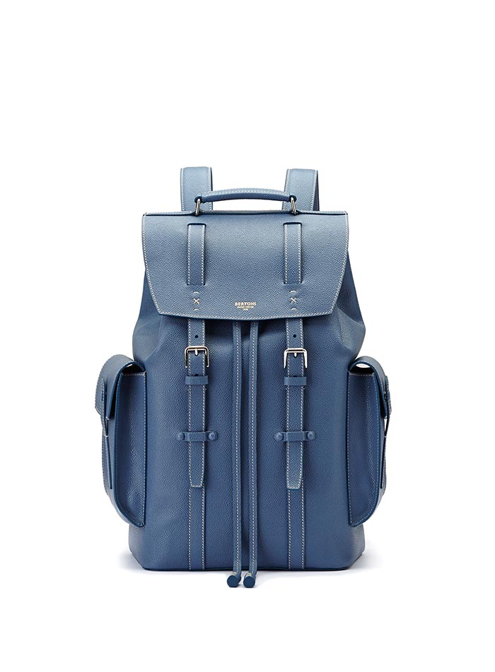 The blue grain calf Traveller Backpack by Bertoni 1949