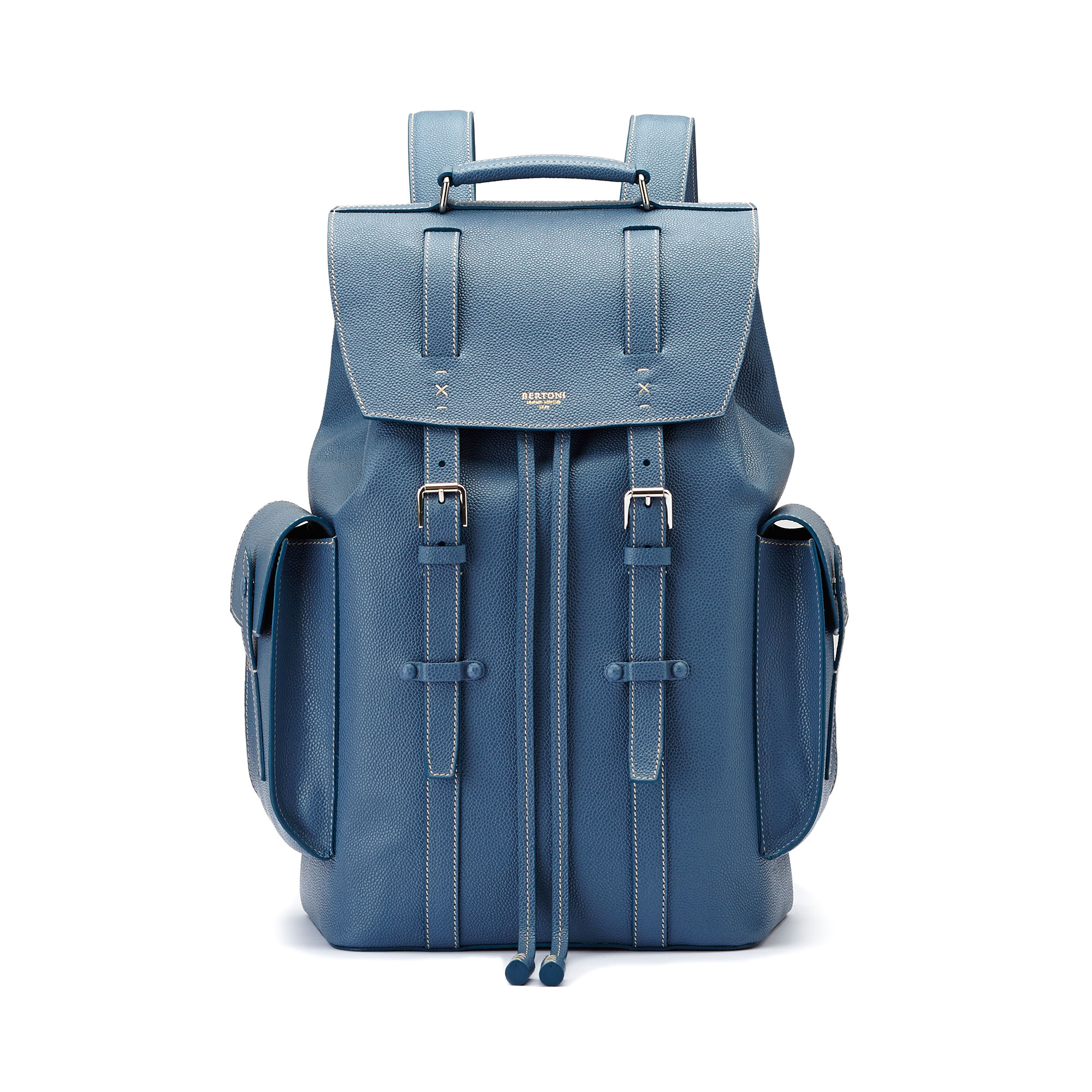 The blue grain calf Traveller Backpack by Bertoni 1949 01