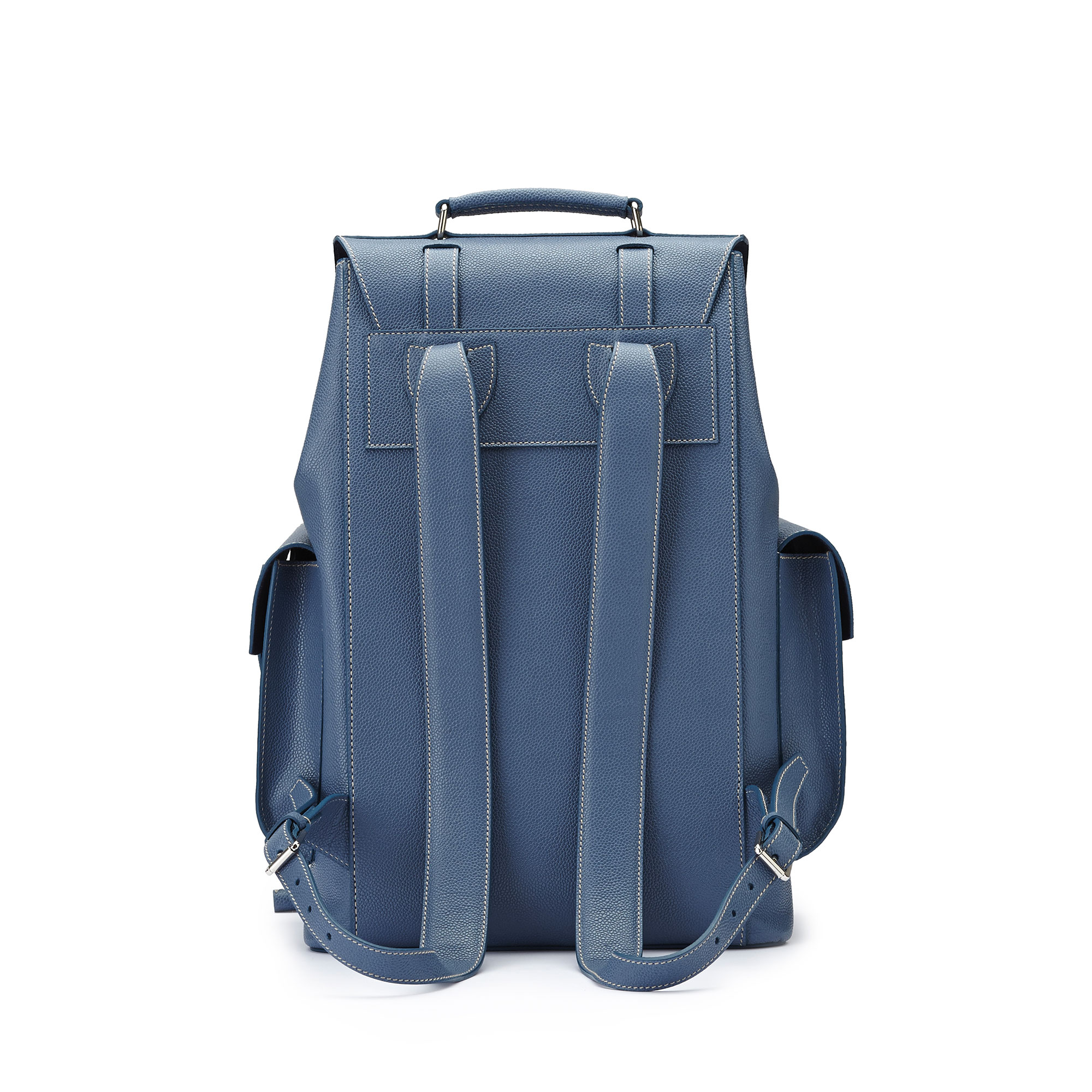 The blue grain calf Traveller Backpack by Bertoni 1949 03