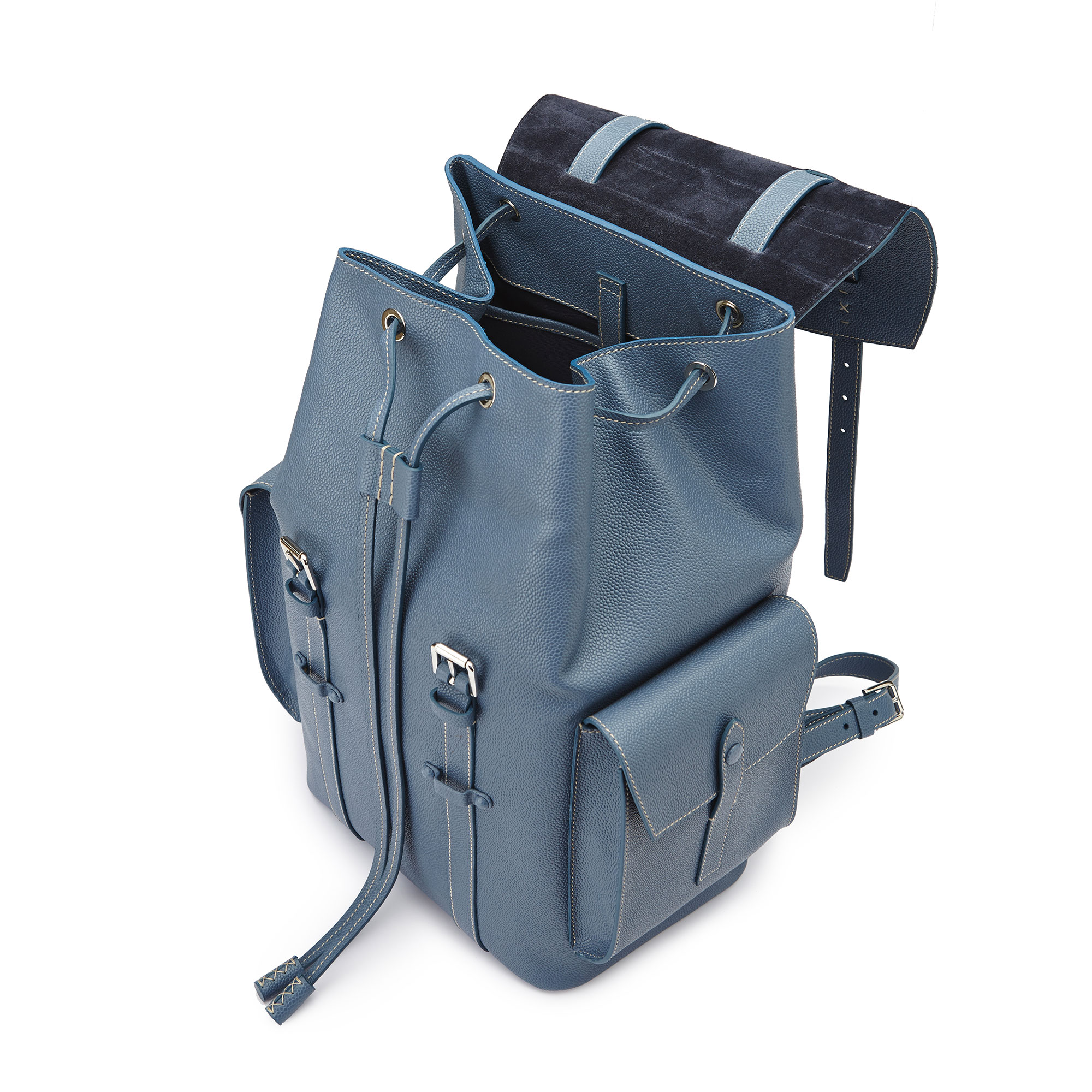 The blue grain calf Traveller Backpack by Bertoni 1949 04