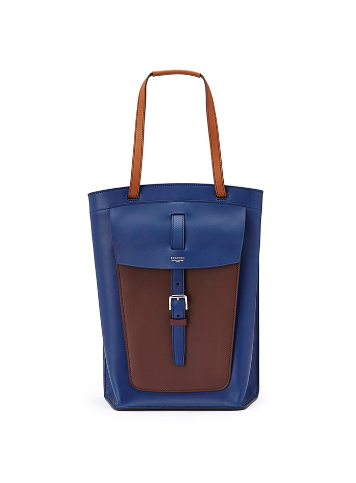 The blue, terrabruciata and brown french calf Arizona bucket bag by Bertoni 1949