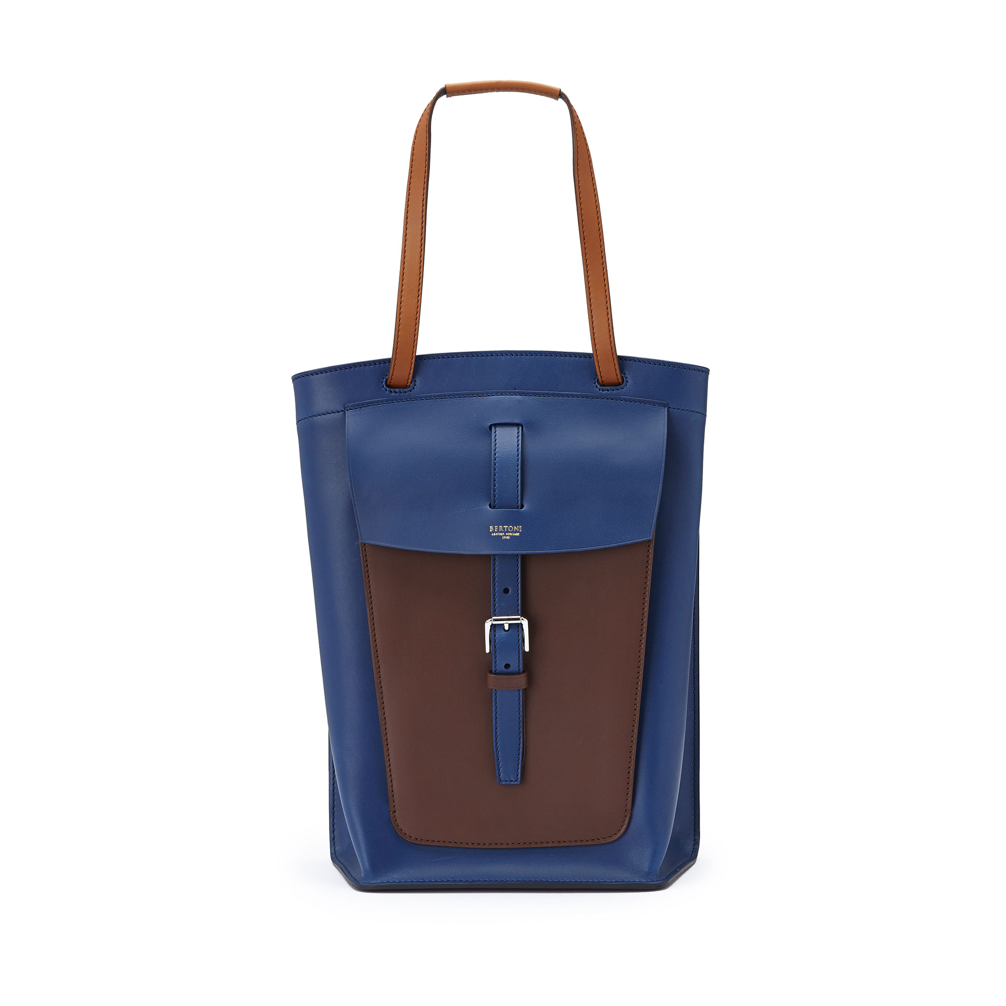 The blue, terrabruciata and brown french calf Arizona bucket bag by Bertoni 1949 01