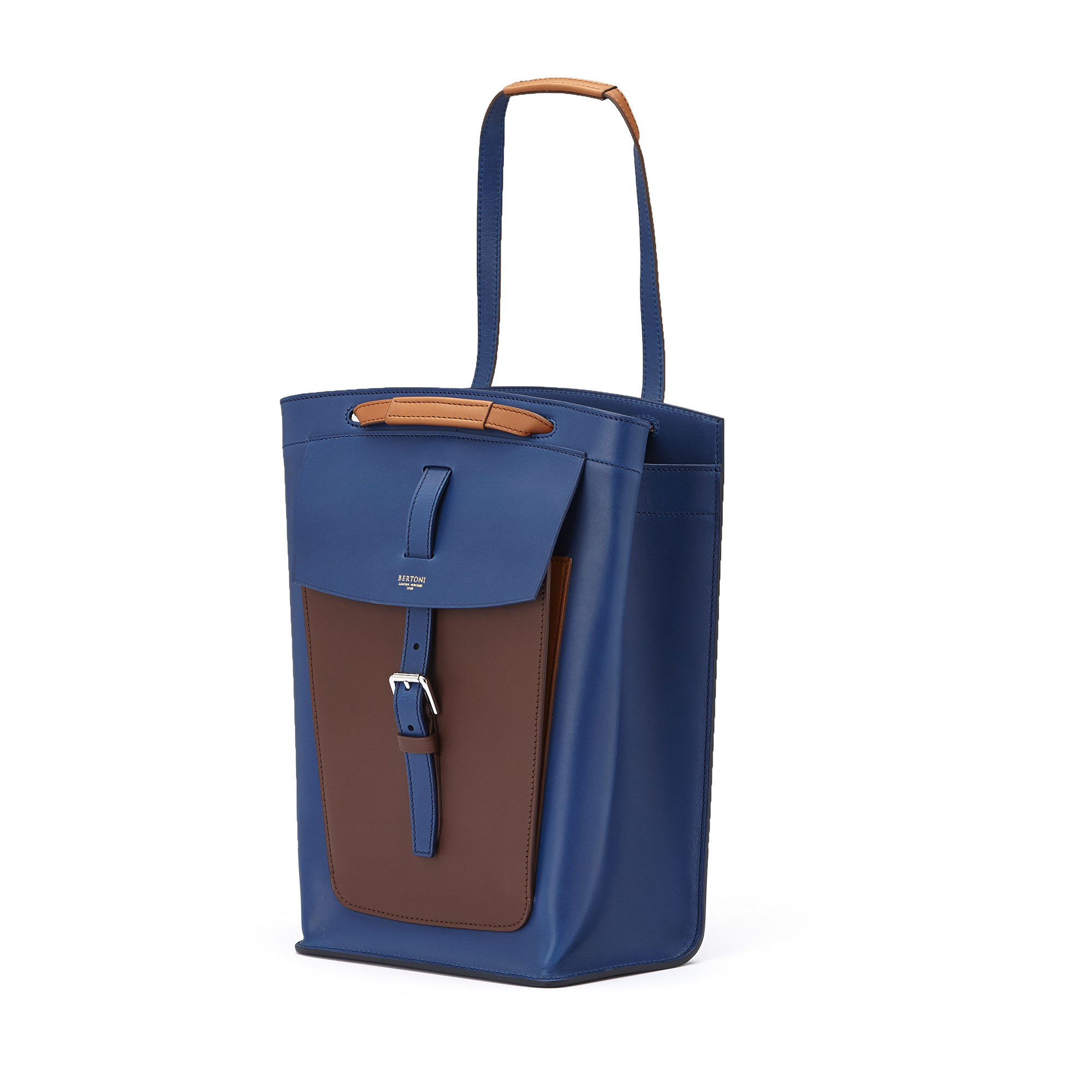 The blue, terrabruciata and brown french calf Arizona bucket bag by Bertoni 1949 02