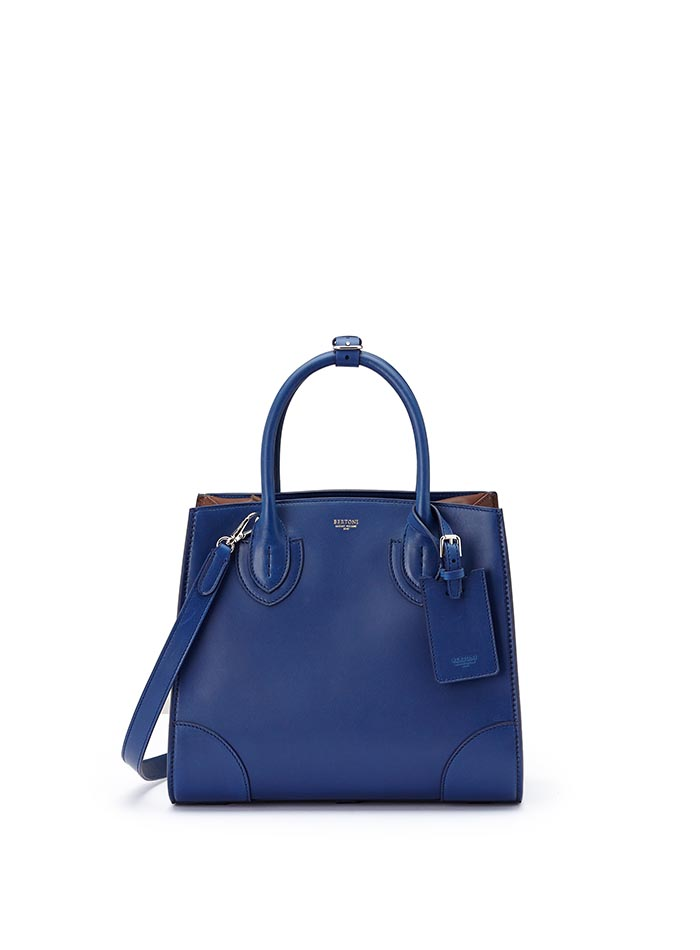 The blue, terrabruciata and brown french calf Darcy medium bag by Bertoni 1949