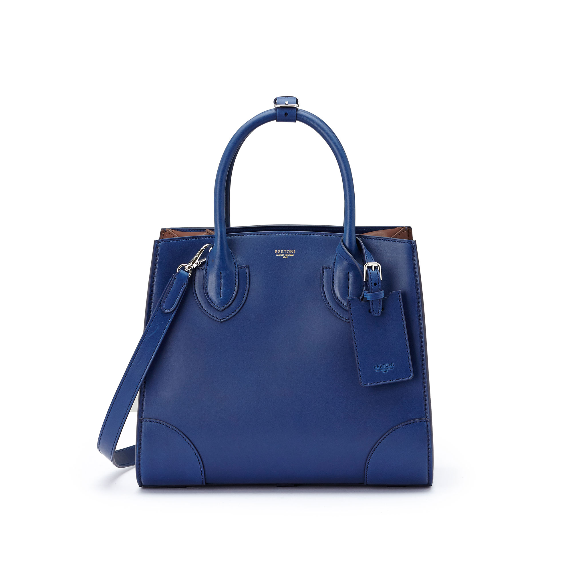 The blue, terrabruciata and brown french calf Darcy medium bag by Bertoni 1949 01