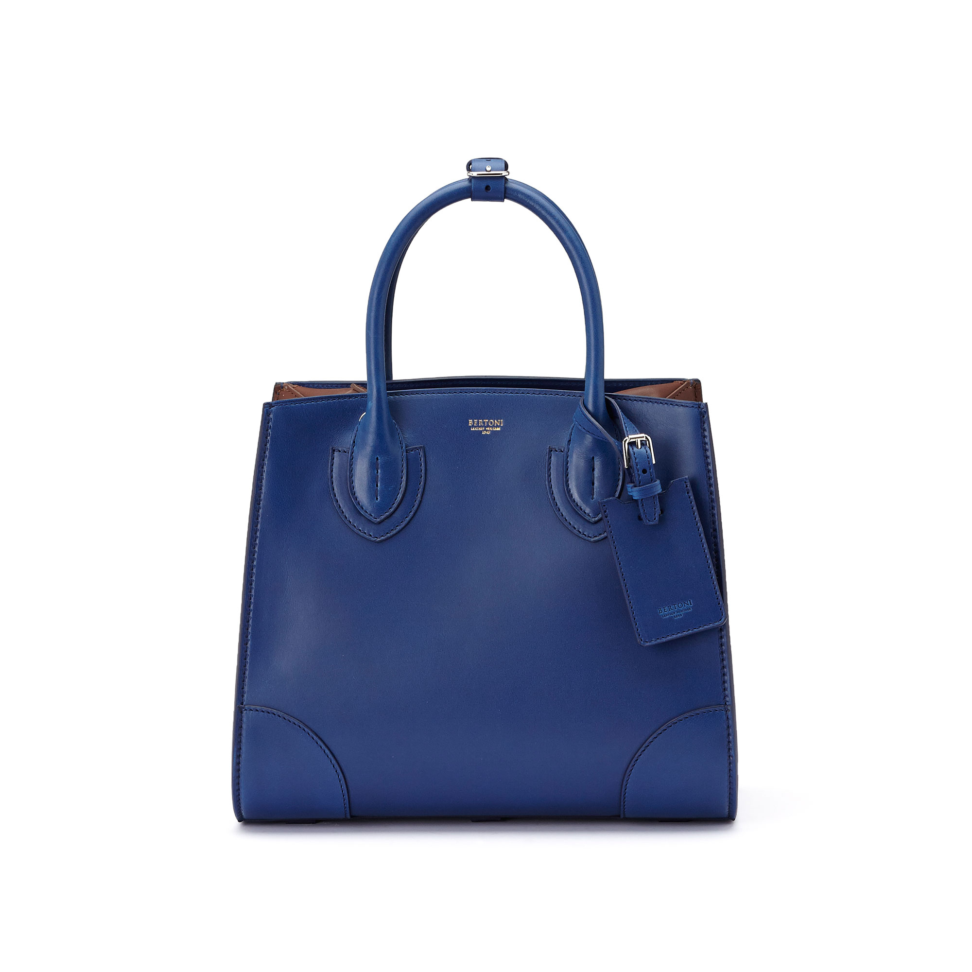 The blue, terrabruciata and brown french calf Darcy medium bag by Bertoni 1949 02