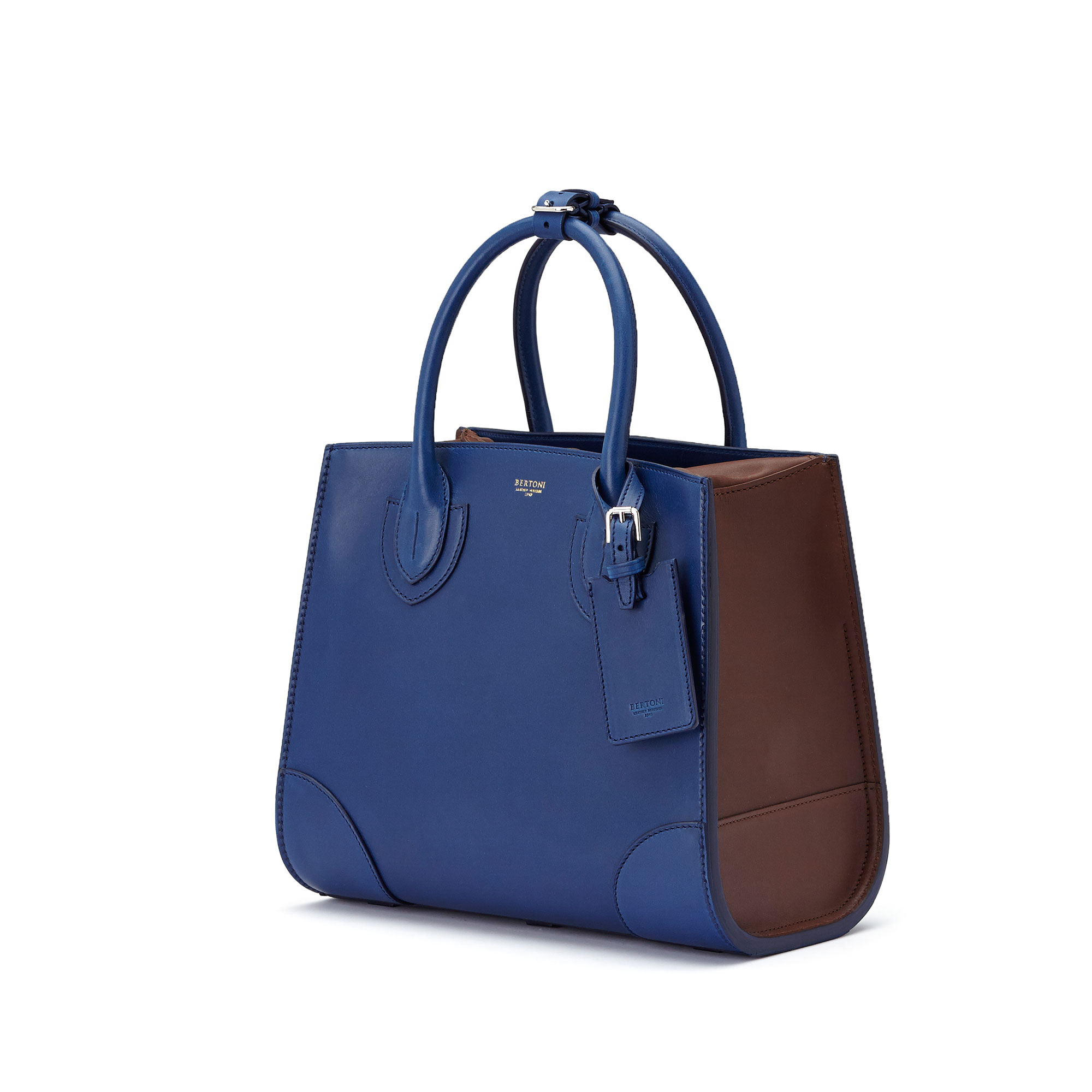 The blue, terrabruciata and brown french calf Darcy medium bag by Bertoni 1949 03