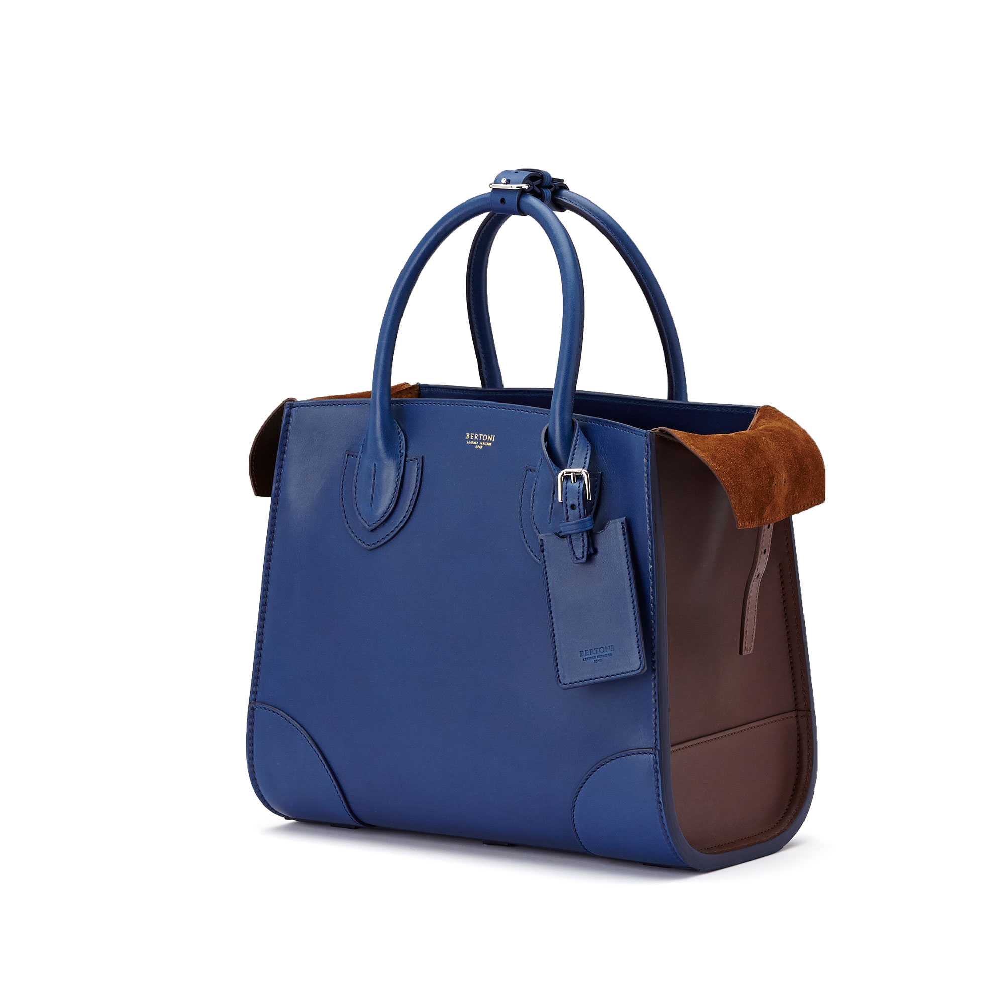 The blue, terrabruciata and brown french calf Darcy medium bag by Bertoni 1949 04