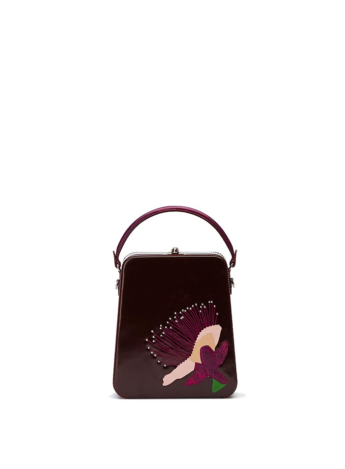 The bordeaux with embroidered flower brushed calf Tall Bertoncina bag by Bertoni 1949
