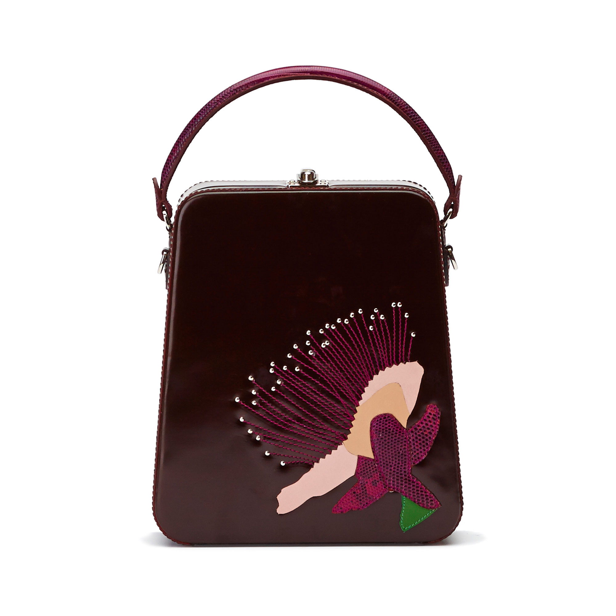 The bordeaux with embroidered flower brushed calf Tall Bertoncina bag by Bertoni 1949 01