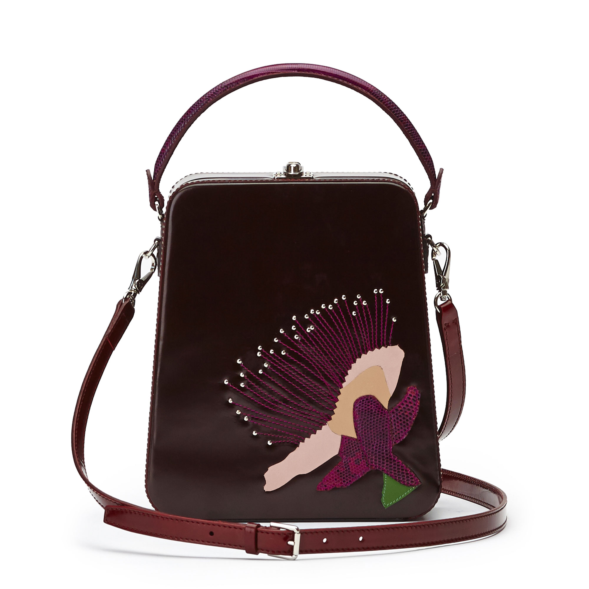 The bordeaux with embroidered flower brushed calf Tall Bertoncina bag by Bertoni 1949 03