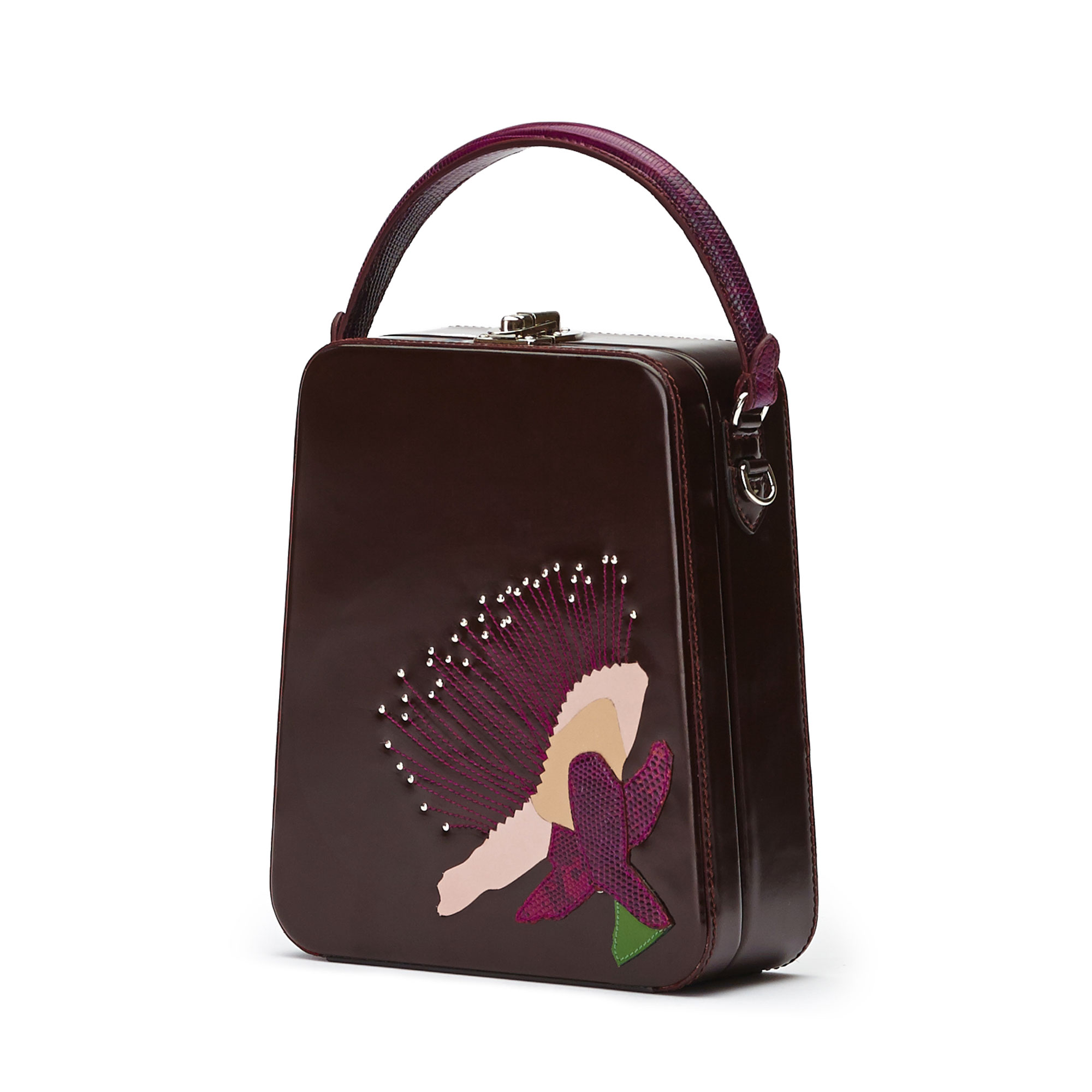 The bordeaux with embroidered flower brushed calf Tall Bertoncina bag by Bertoni 1949 02