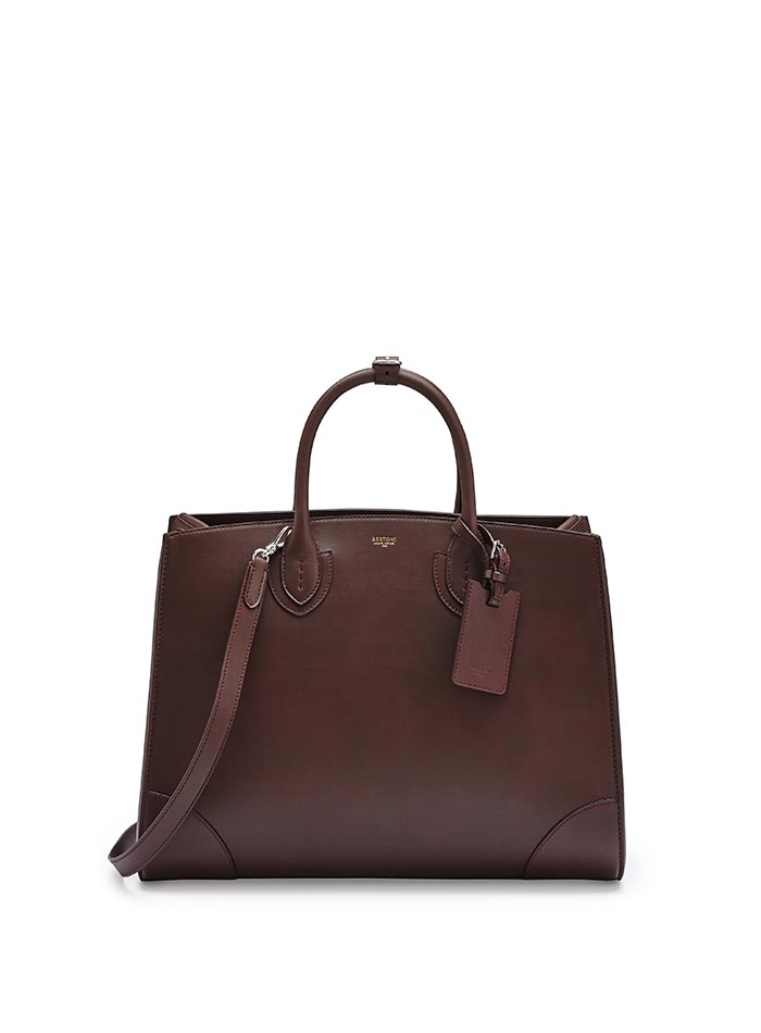 The bordeaux french calf Maxi Darcy bag by Bertoni 1949