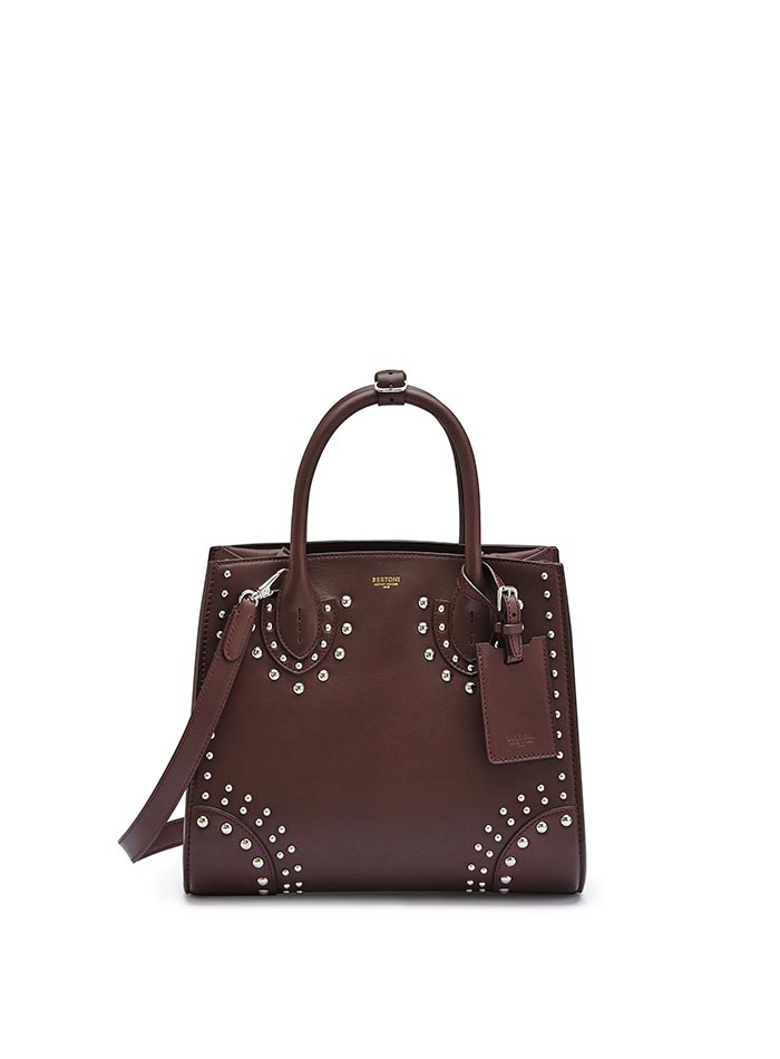 The bordeaux french calf Darcy with studs, medium bag by Bertoni 1949