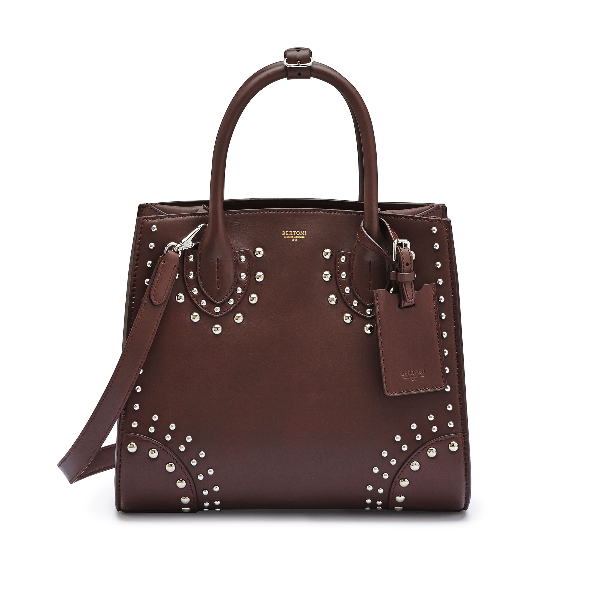 The bordeaux french calf Darcy with studs, medium bag by Bertoni 1949 01