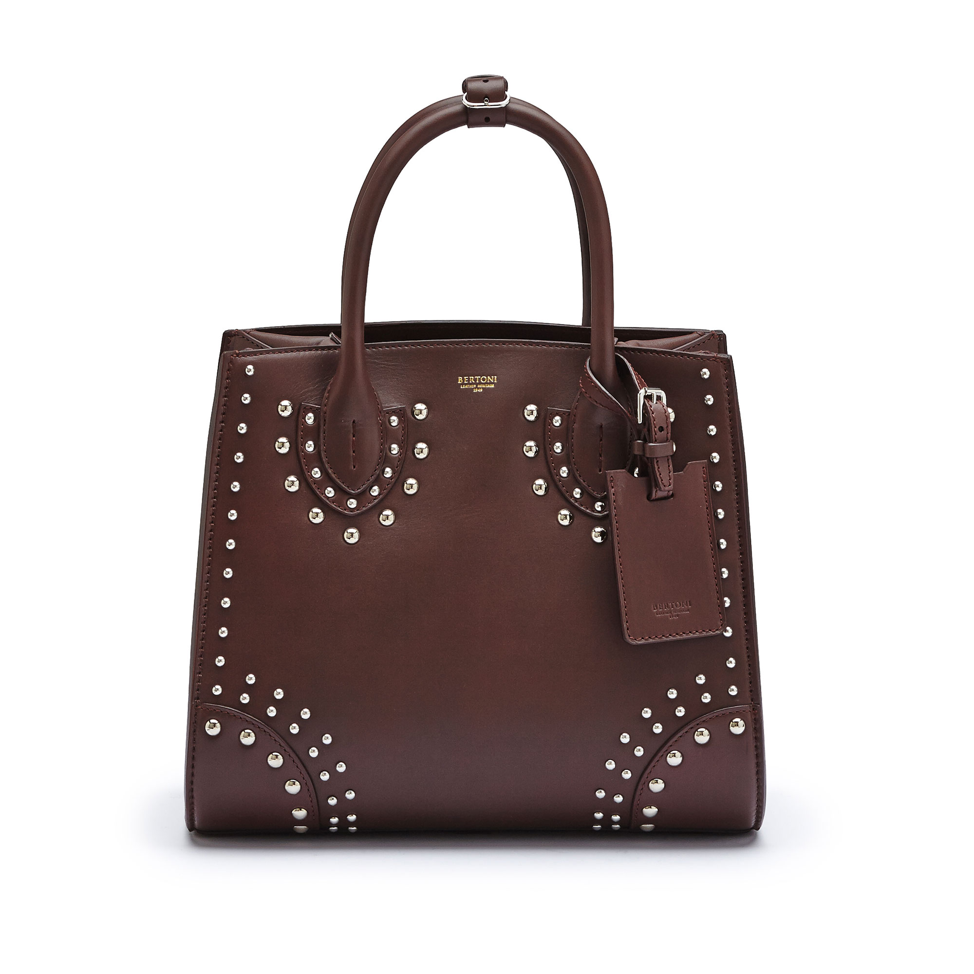 The bordeaux french calf Darcy with studs, medium bag by Bertoni 1949 02