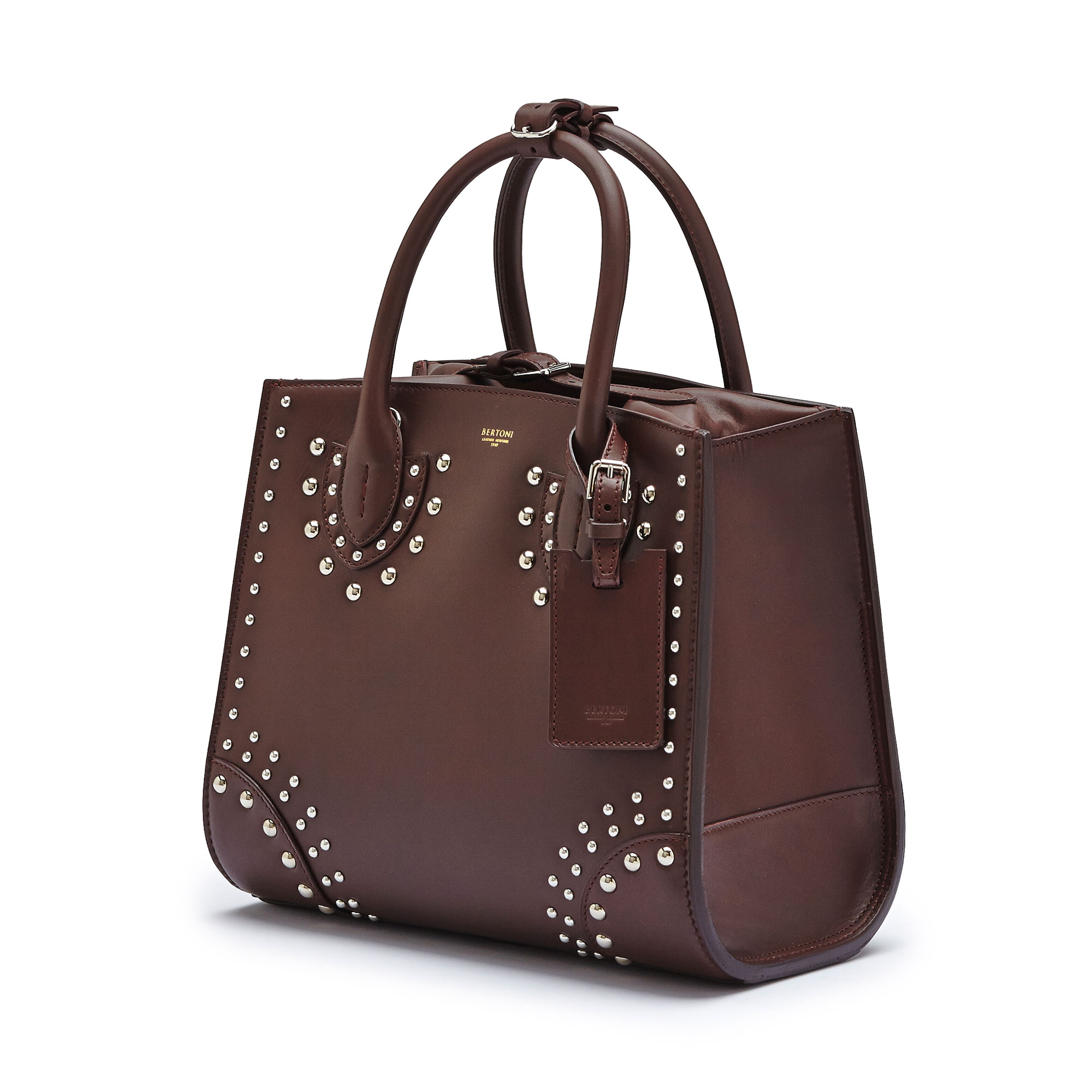The bordeaux french calf Darcy with studs, medium bag by Bertoni 1949 03