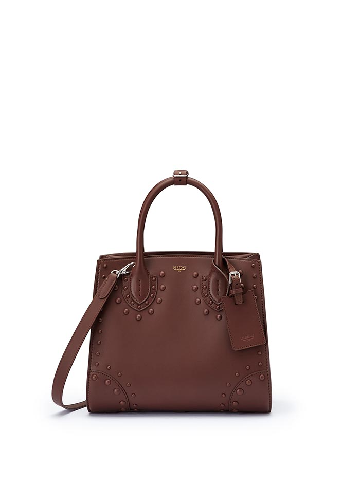 The brown french calf Darcy medium bag by Bertoni 1949