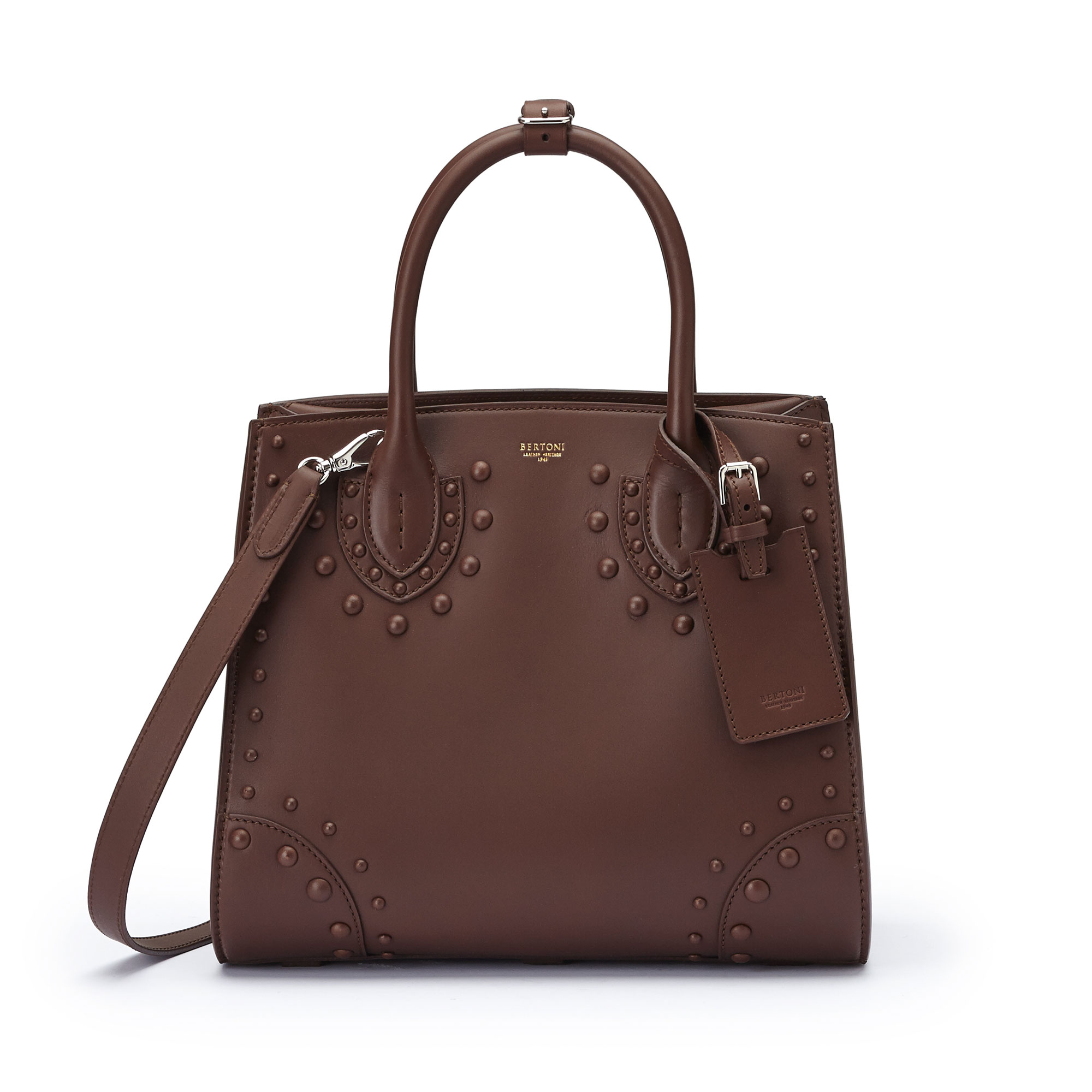 The brown french calf Darcy medium bag by Bertoni 1949 01