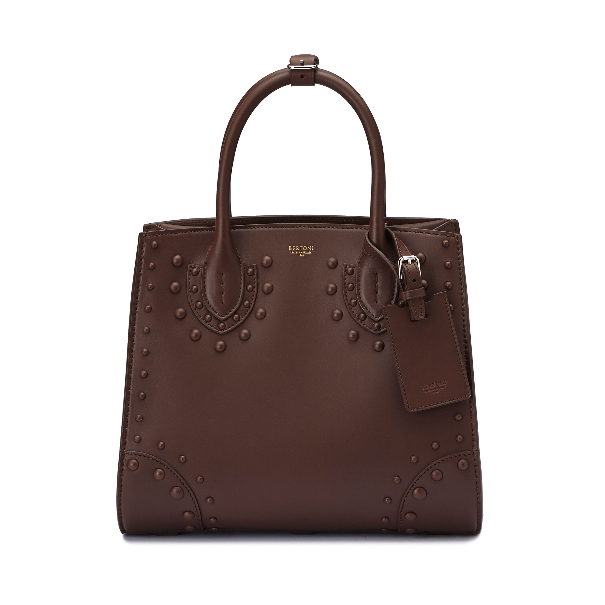 The brown french calf Darcy medium bag by Bertoni 1949 02