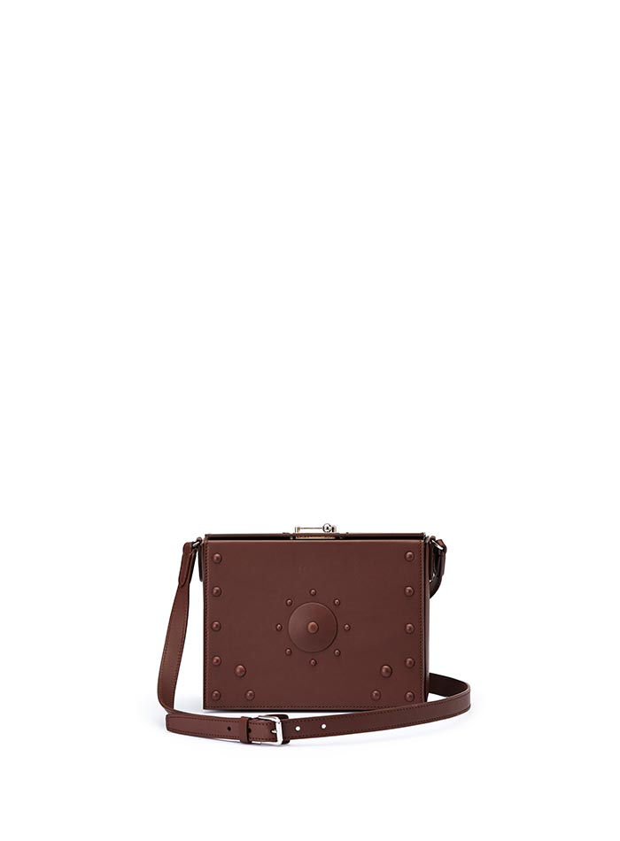The brown french calf Gemma Crossbody with studs bag by Bertoni 1949