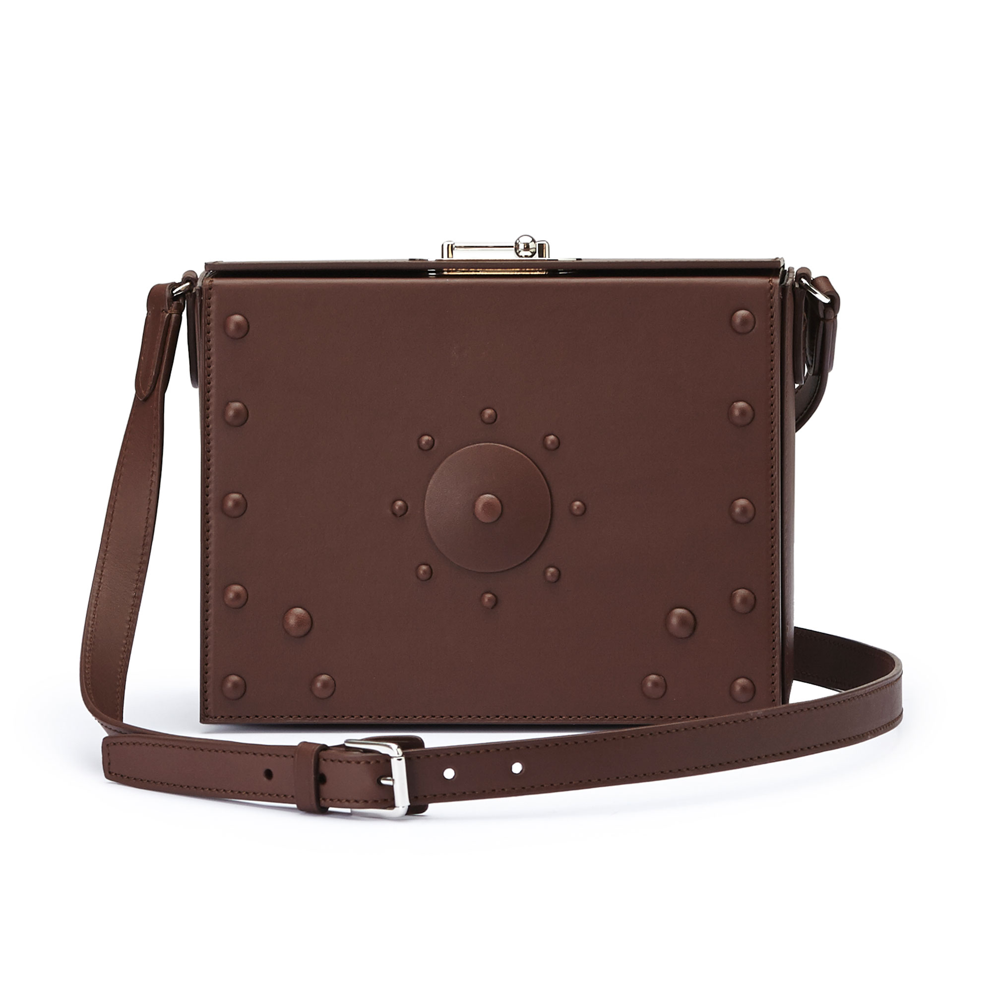 The brown french calf Gemma Crossbody with studs bag by Bertoni 1949 01