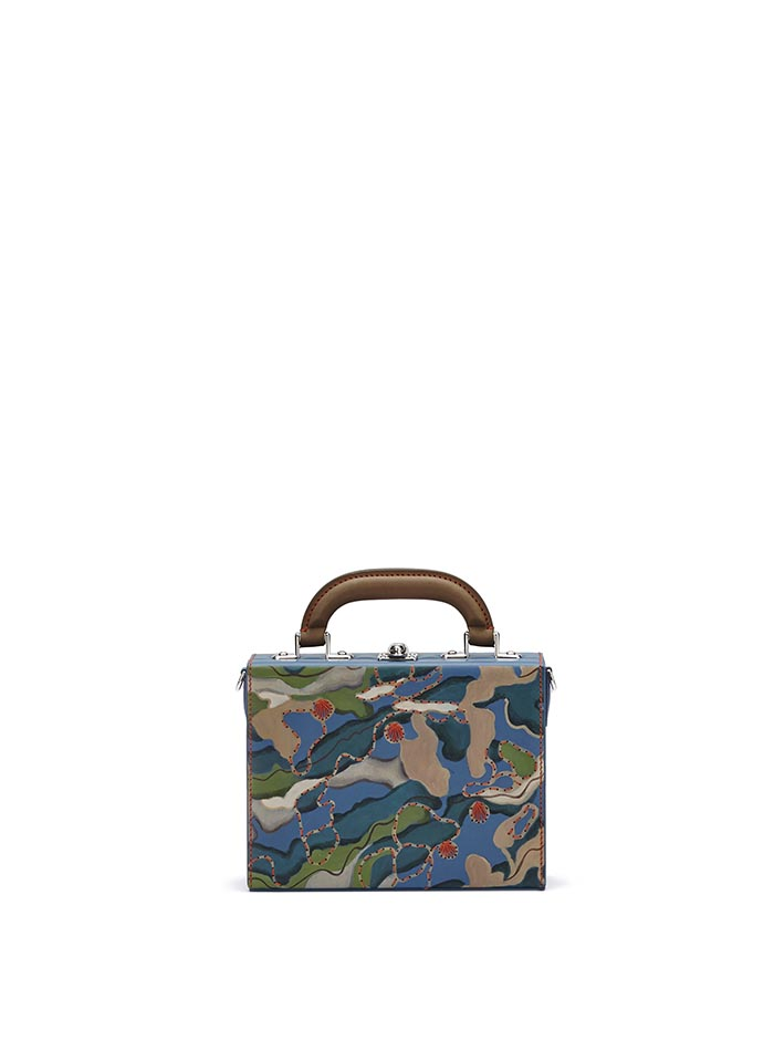 The hand-painted camouflage effect french calf Mini Squared Bertoncina bag by Bertoni 1949