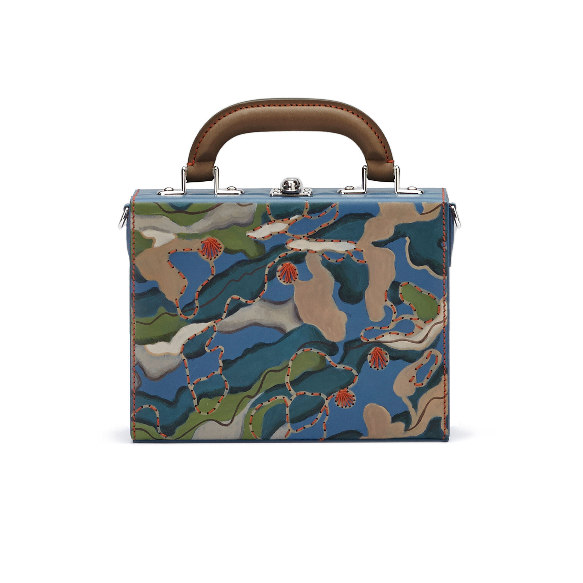 The hand-painted camouflage effect french calf Mini Squared Bertoncina bag by Bertoni 1949 01