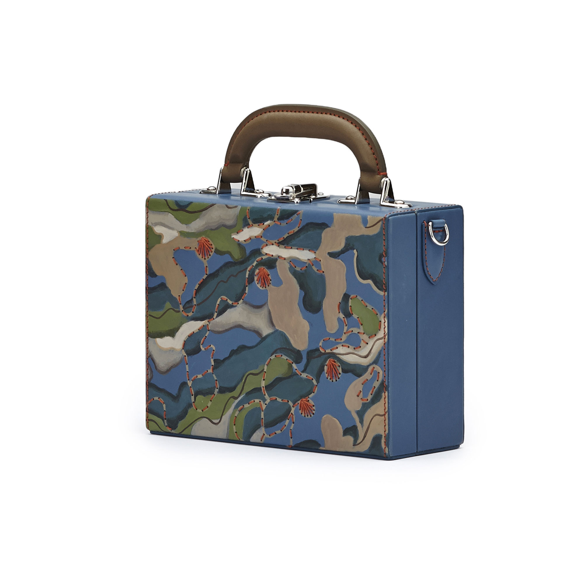 The hand-painted camouflage effect french calf Mini Squared Bertoncina bag by Bertoni 1949 02