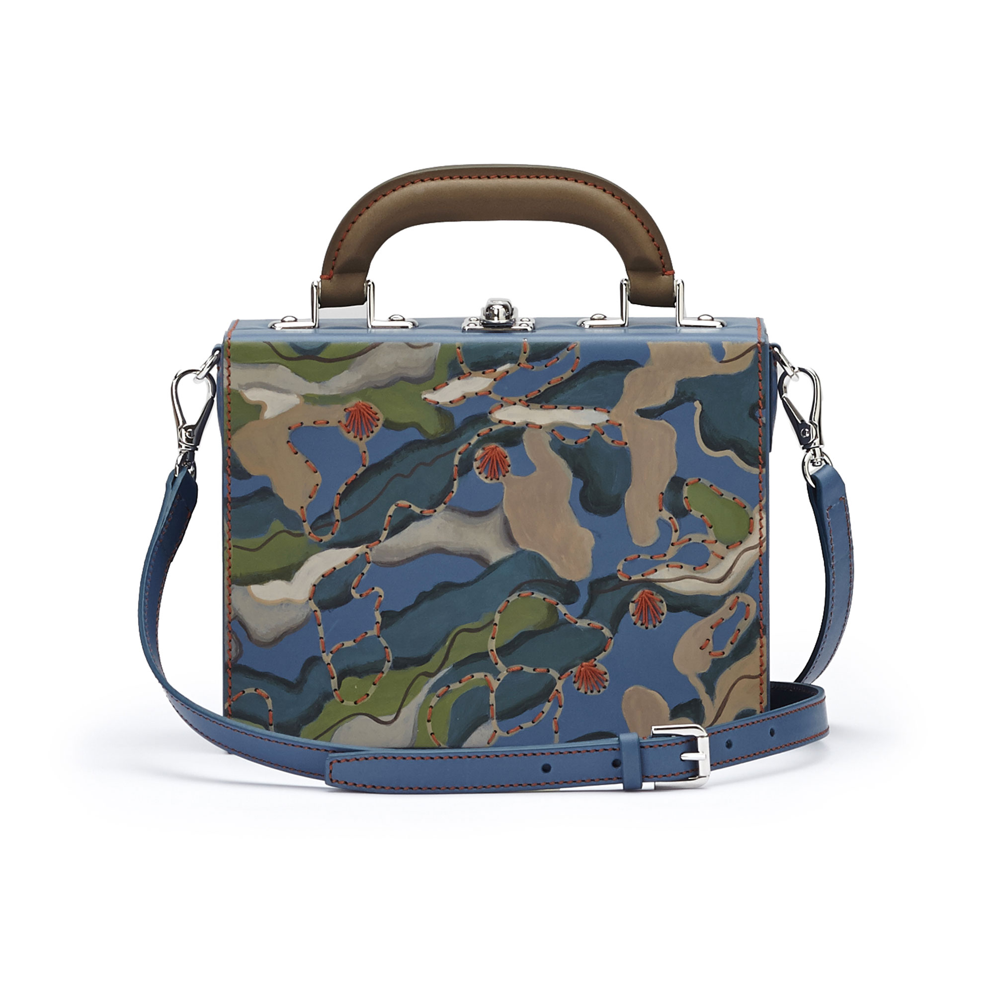The hand-painted camouflage effect french calf Mini Squared Bertoncina bag by Bertoni 1949 03