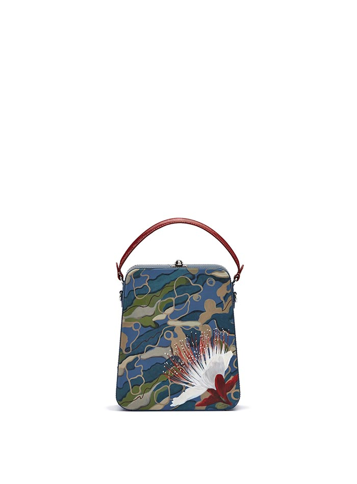 The camouflage effect with hand painted flower french calf Tall Bertoncina bag by Bertoni 1949