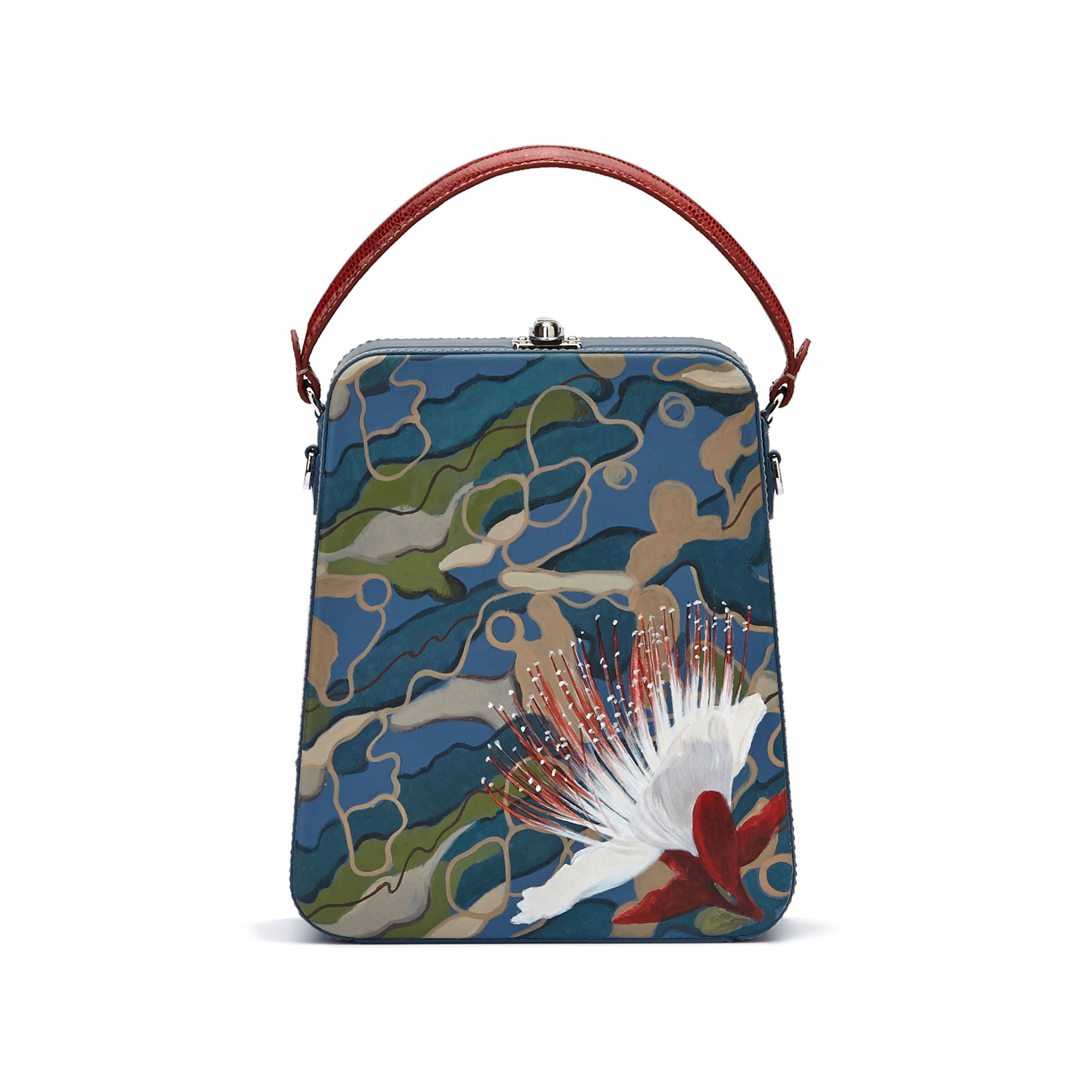 The camouflage effect with hand painted flower french calf Tall Bertoncina bag by Bertoni 1949 01