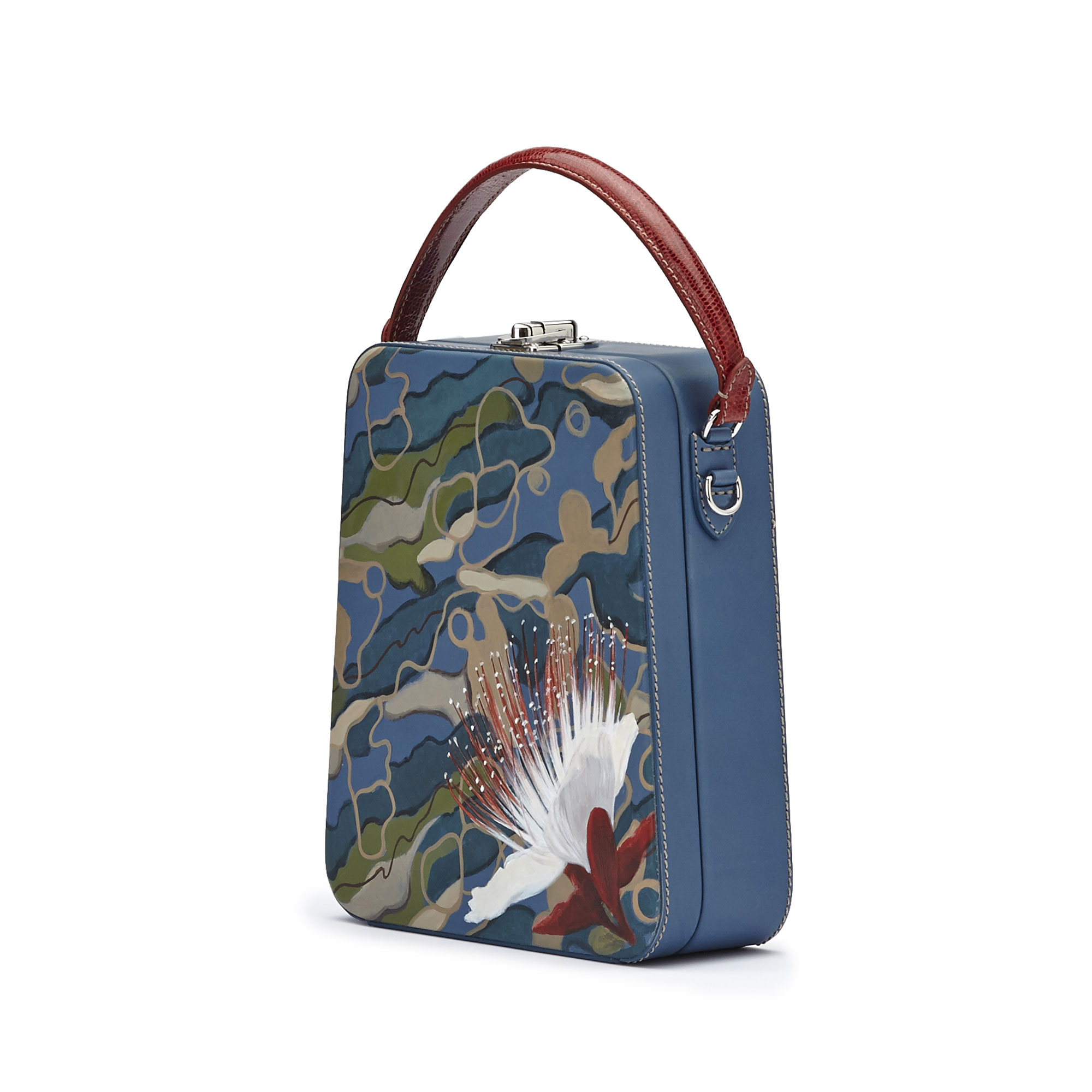 The camouflage effect with hand painted flower french calf Tall Bertoncina bag by Bertoni 1949 02