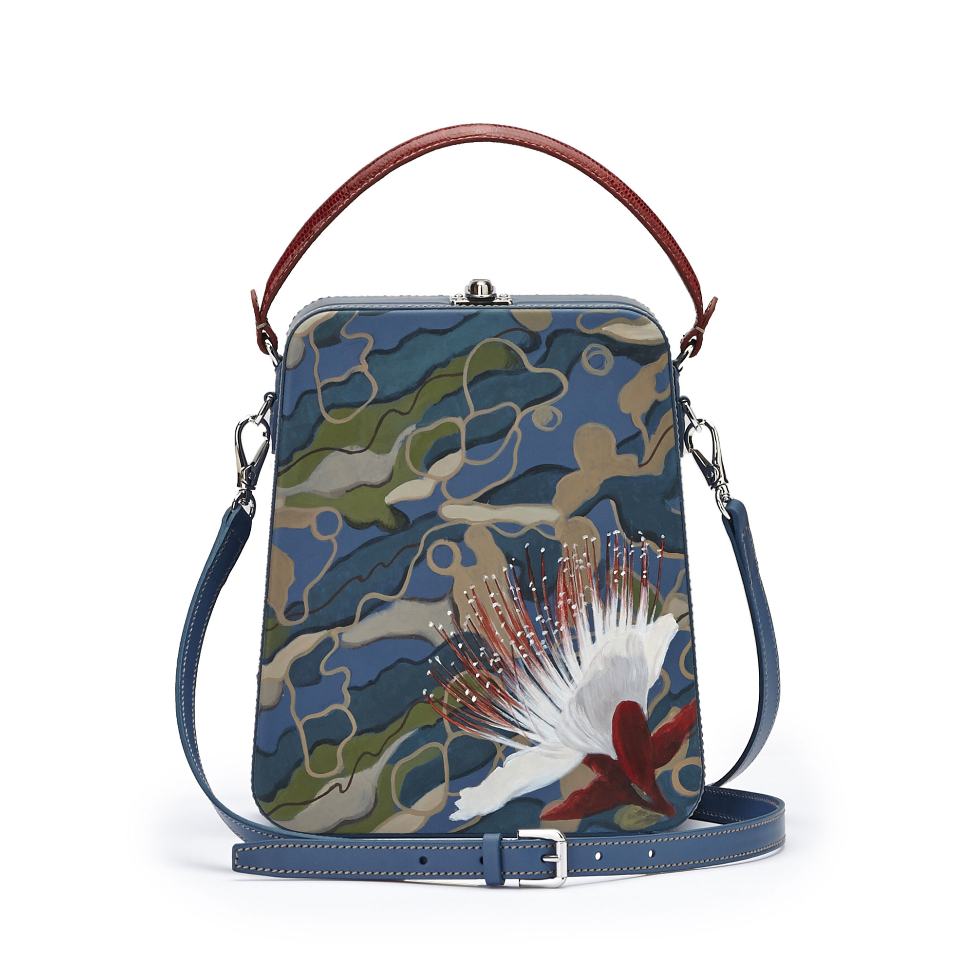 The camouflage effect with hand painted flower french calf Tall Bertoncina bag by Bertoni 1949 03